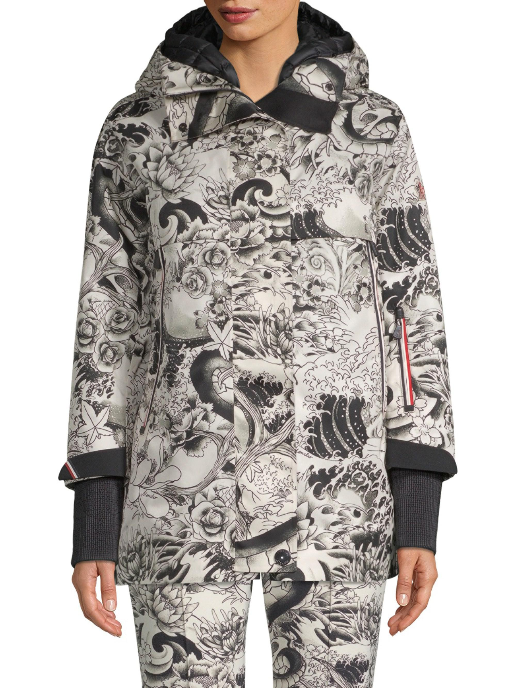 ade5eafa3 Lyst - Moncler Neves Tattoo Print Hooded Snowboarding Jacket