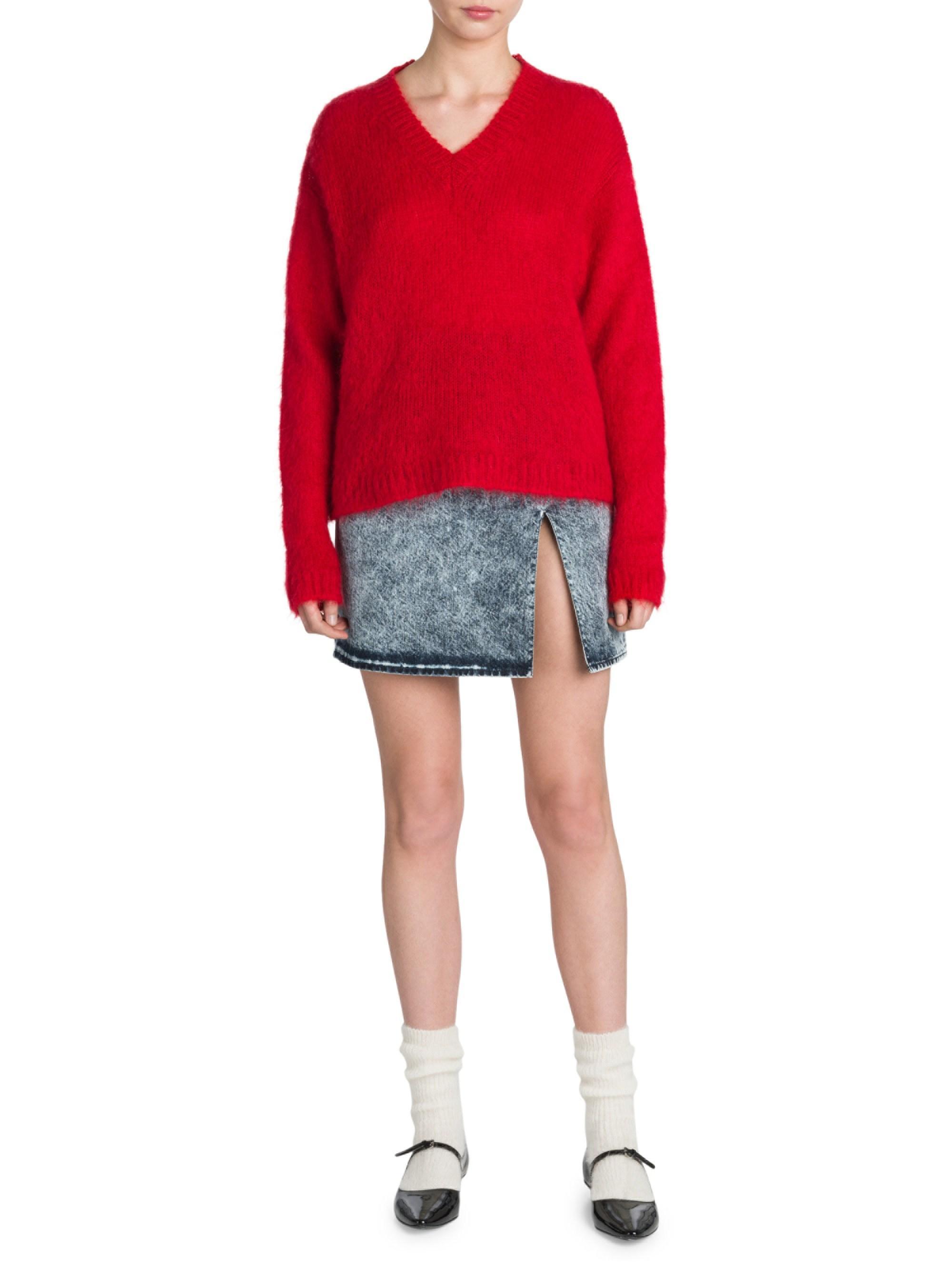 5944e052aa57f Lyst - Miu Miu Acid Wash Denim Mini Skirt in Blue