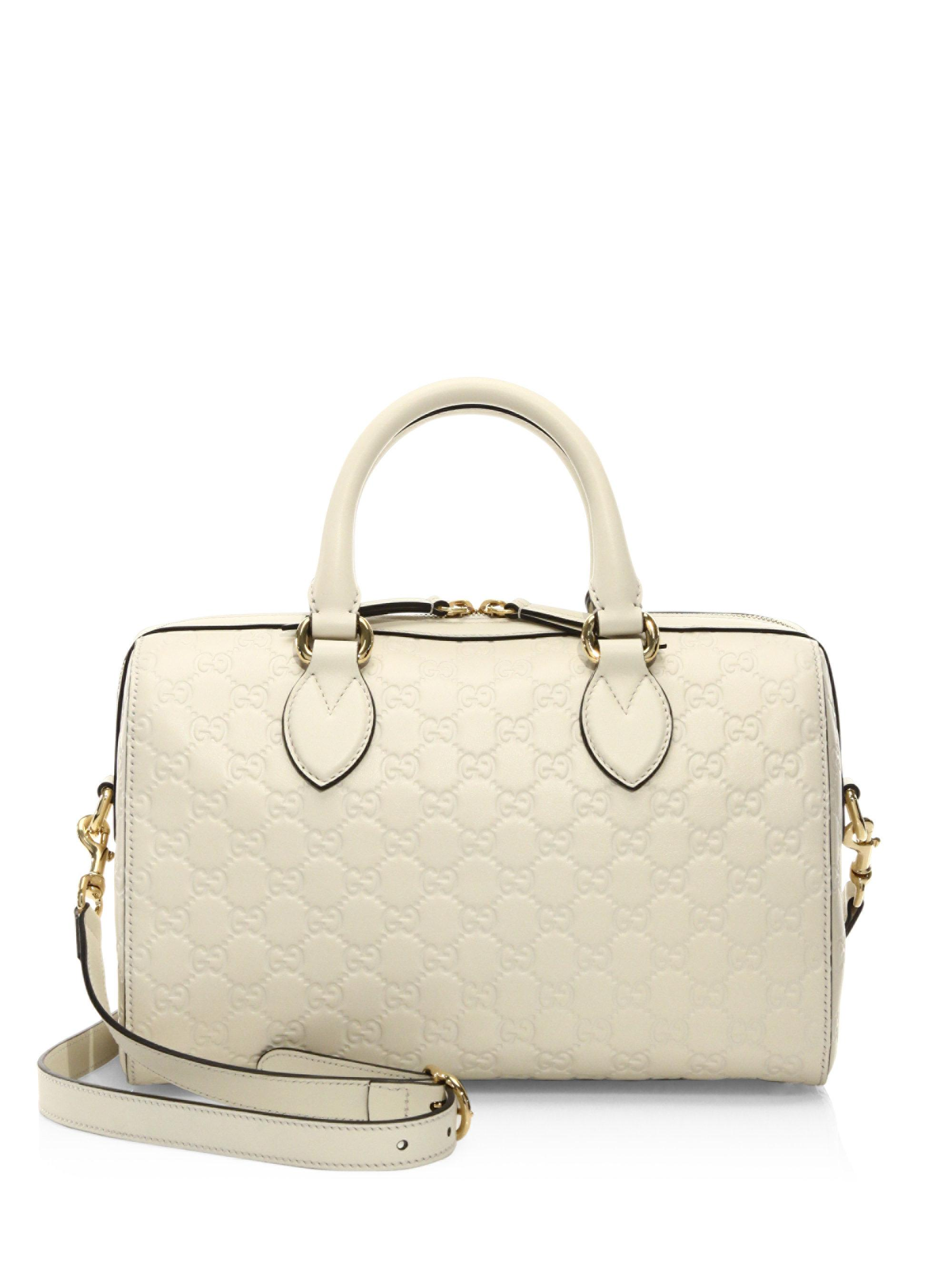 9855bb0a0bda Gucci Medium Soft Signature Leather Boston Bag in White - Lyst