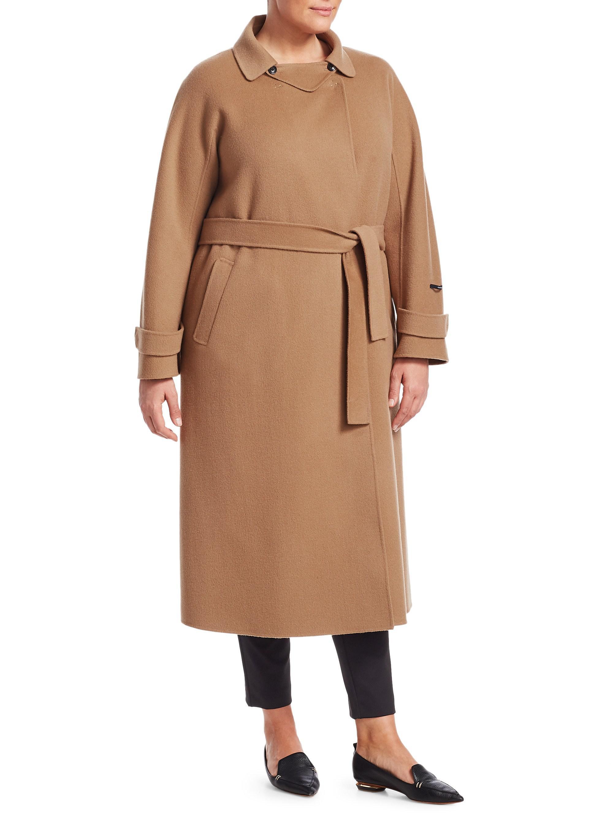 fdbfdf752 Marina Rinaldi Trionfo Wrap Camel Coat in Natural - Lyst