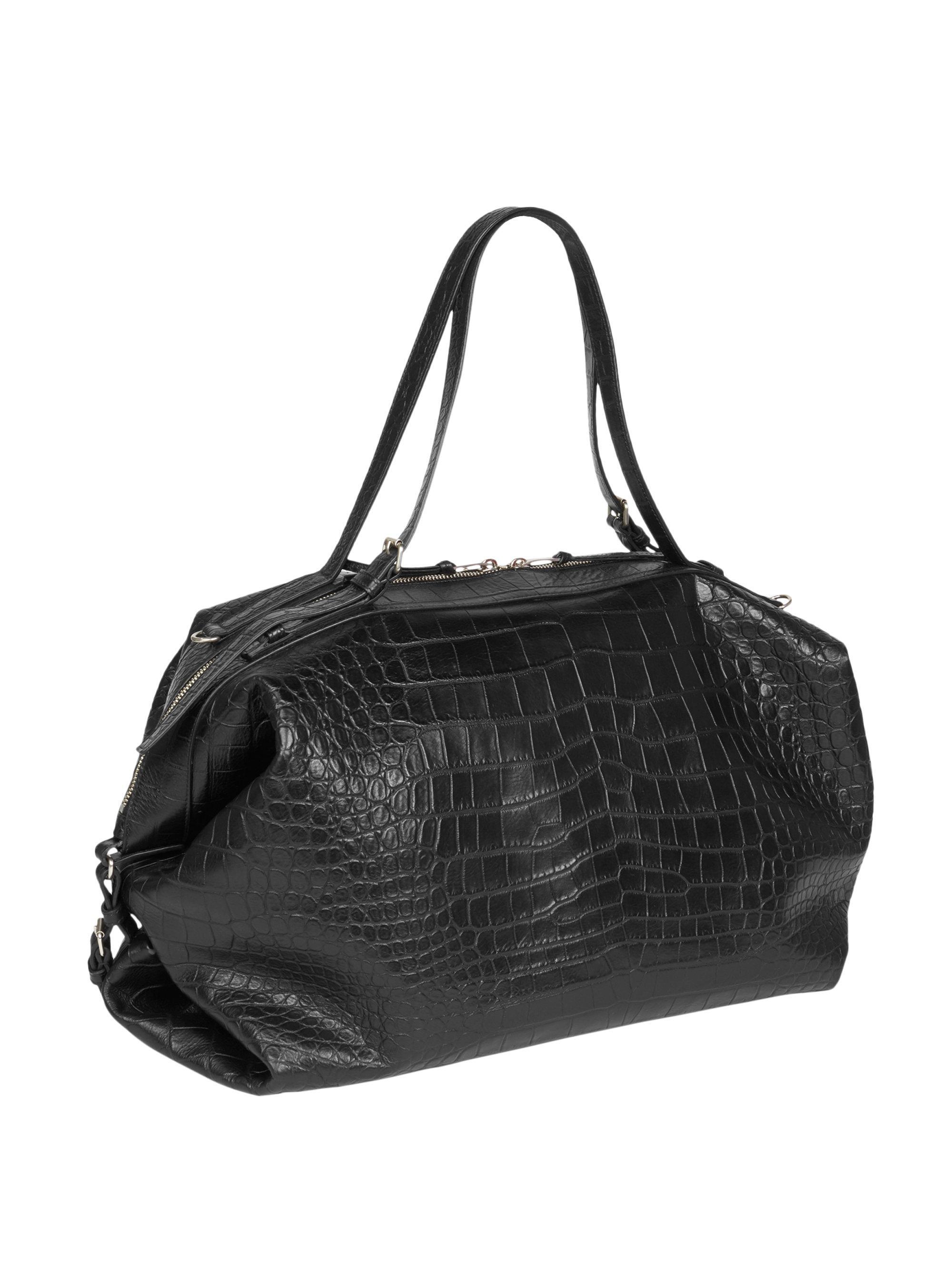 59b6b44754cd3 Saint Laurent Crocodile Embossed Leather Duffel Bag in Black for Men - Lyst