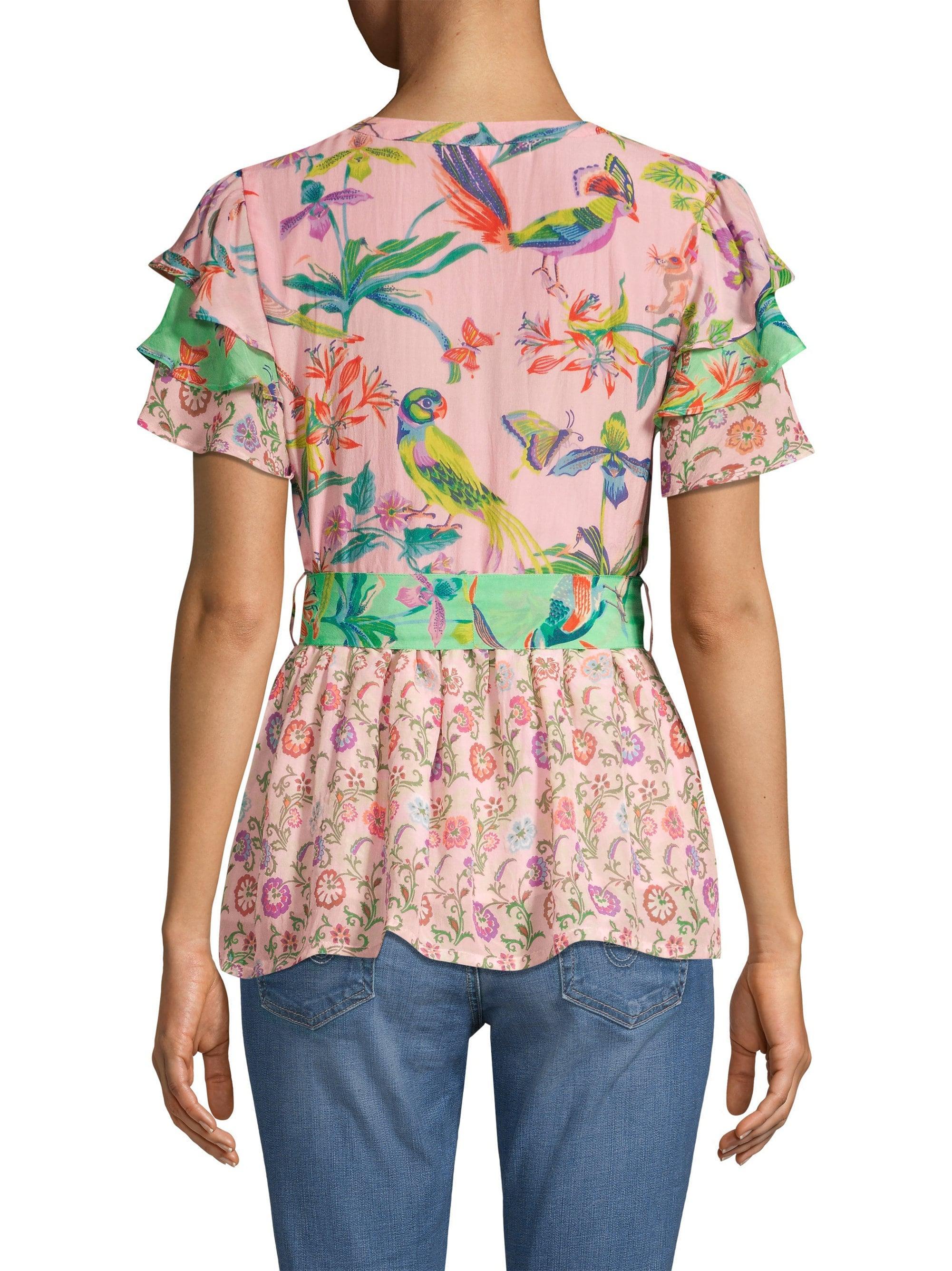 232a2beedfe0a2 Banjanan Jaya Contrast Floral   Avian Print Tie Short-sleeve Silk ...