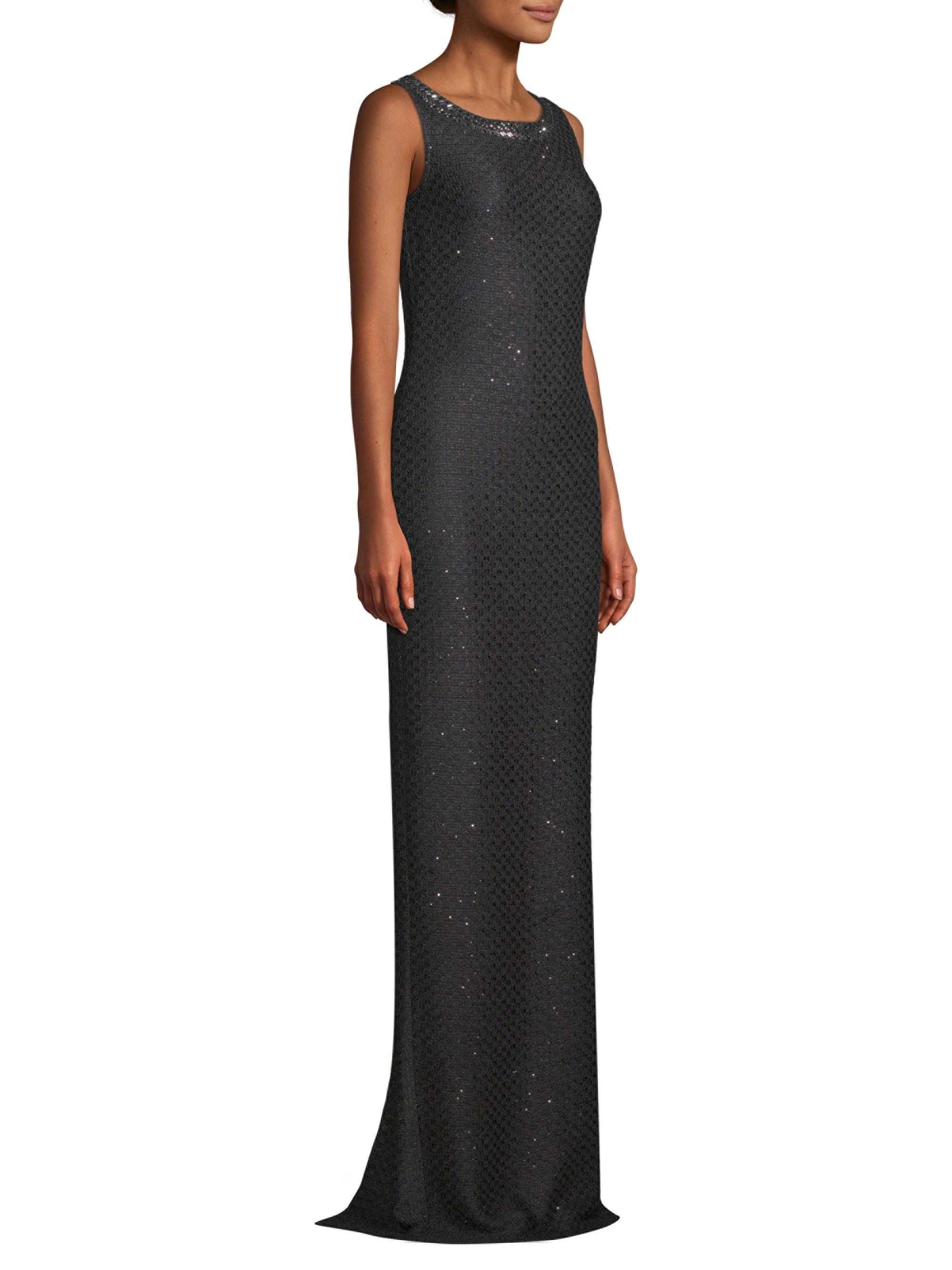 St. John Shimmer Sequin Knit Gown in Black - Lyst