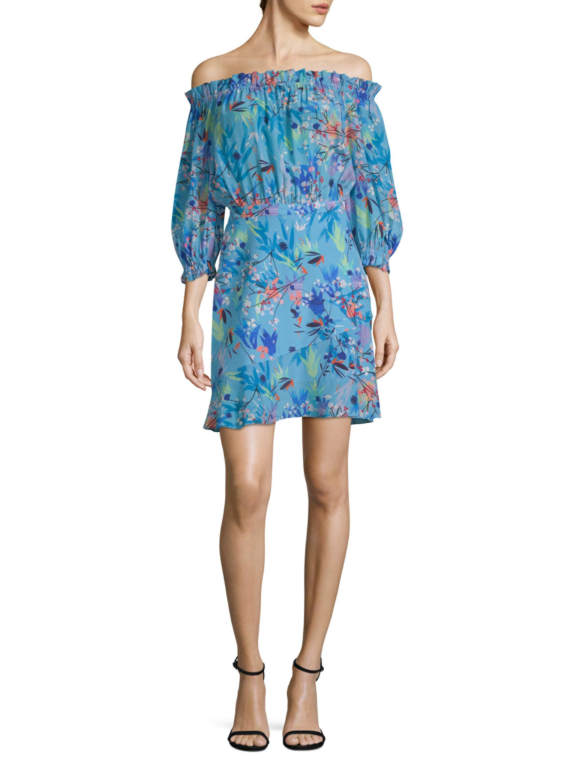 off-the-shoulder mini dress - Blue Saloni 0ivQC