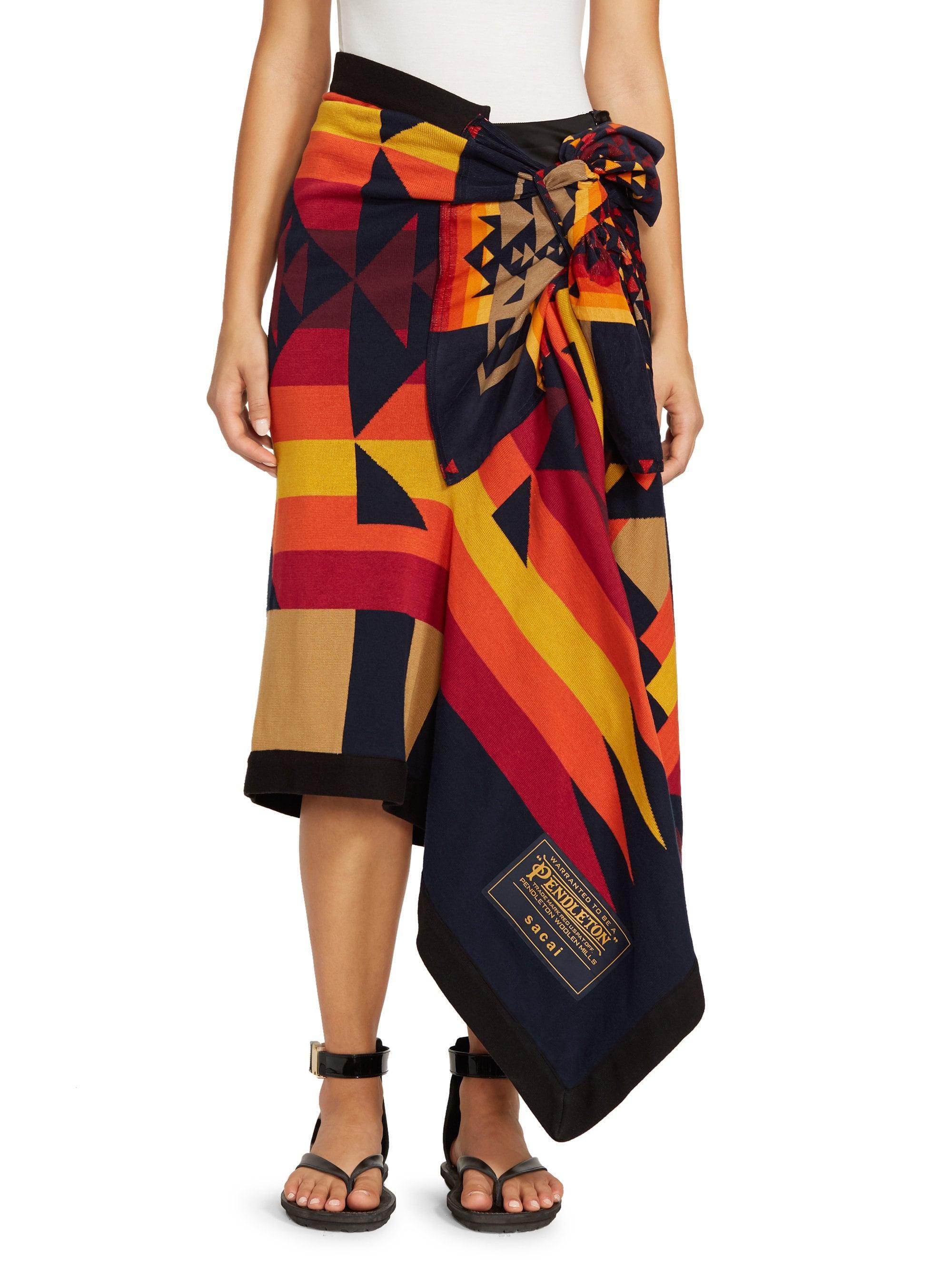 99de3583db Sacai Pendleton-knit Wrap Skirt in Blue - Lyst