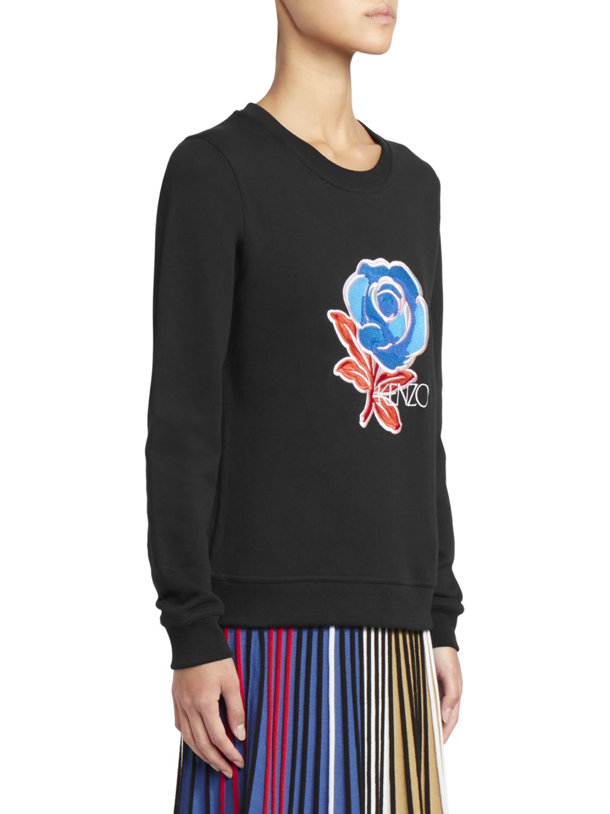 fdd922c3843e Lyst - KENZO Women's Embroidered Rose Sweatshirt - Black - Size Xs in Black