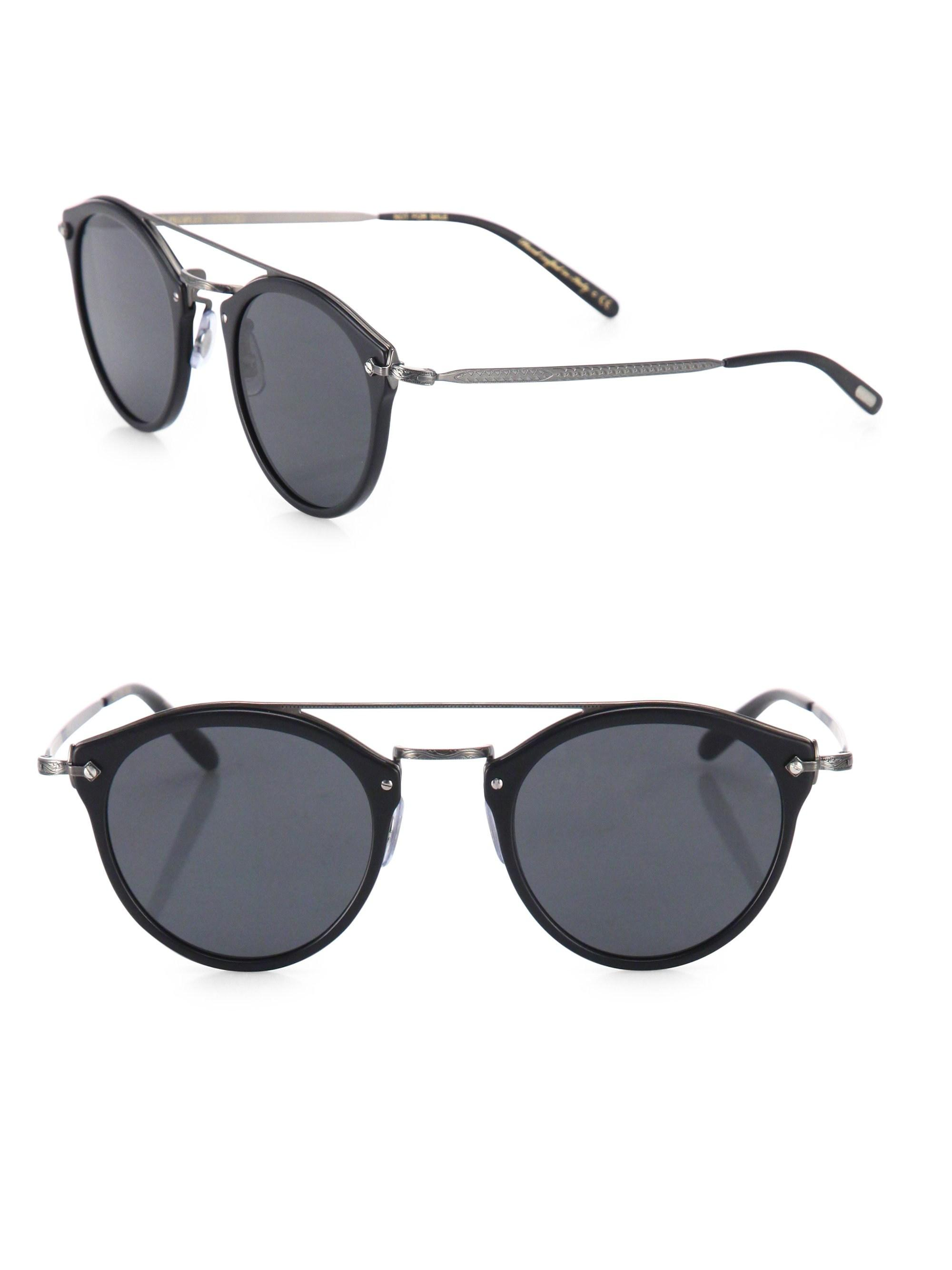 745cf74d08 Oliver Peoples Men s Remick 50mm Round Sunglasses - Black in Black ...