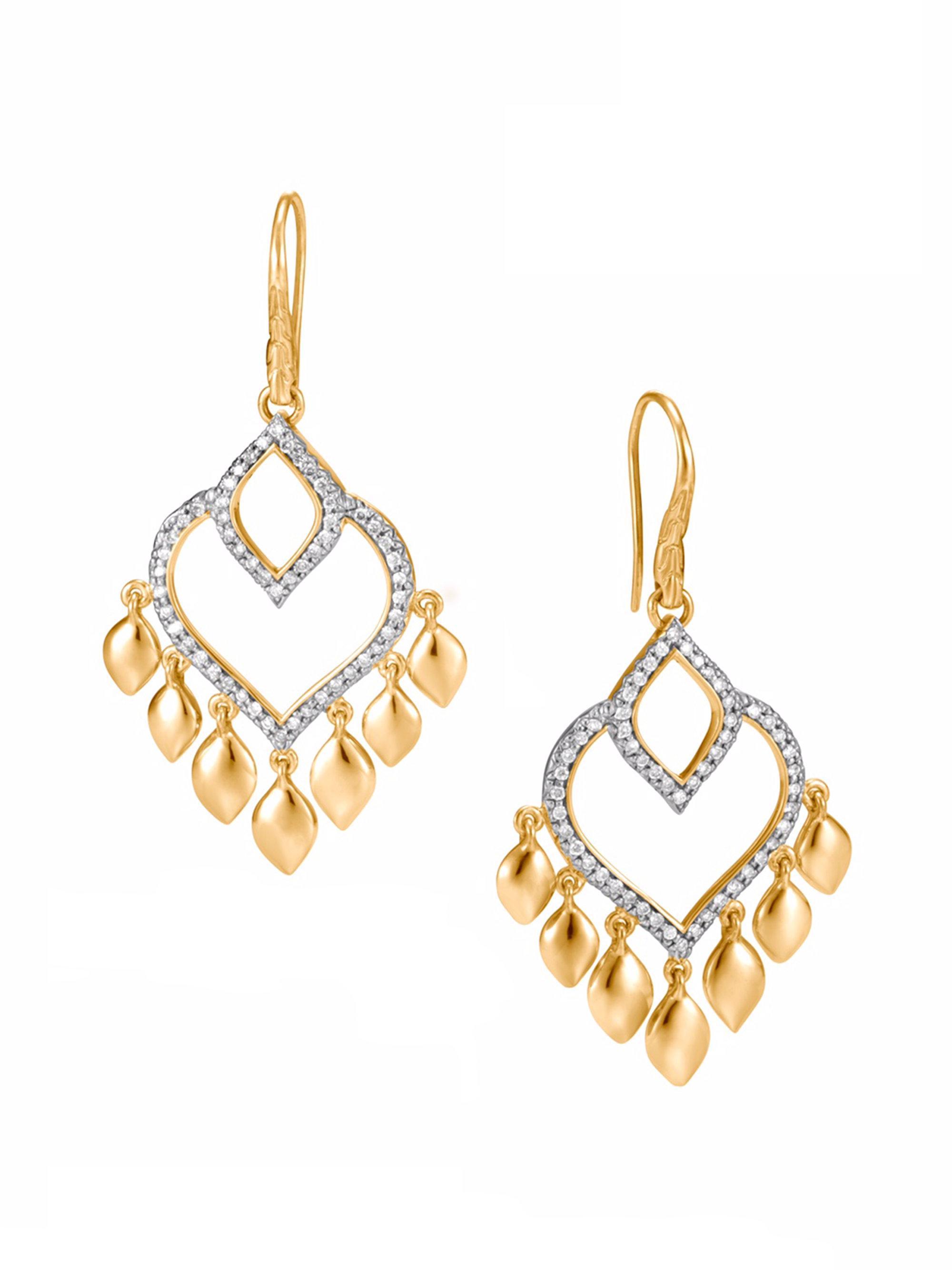 John Hardy Legends Naga Chandelier Earrings with Diamonds gvdUnV