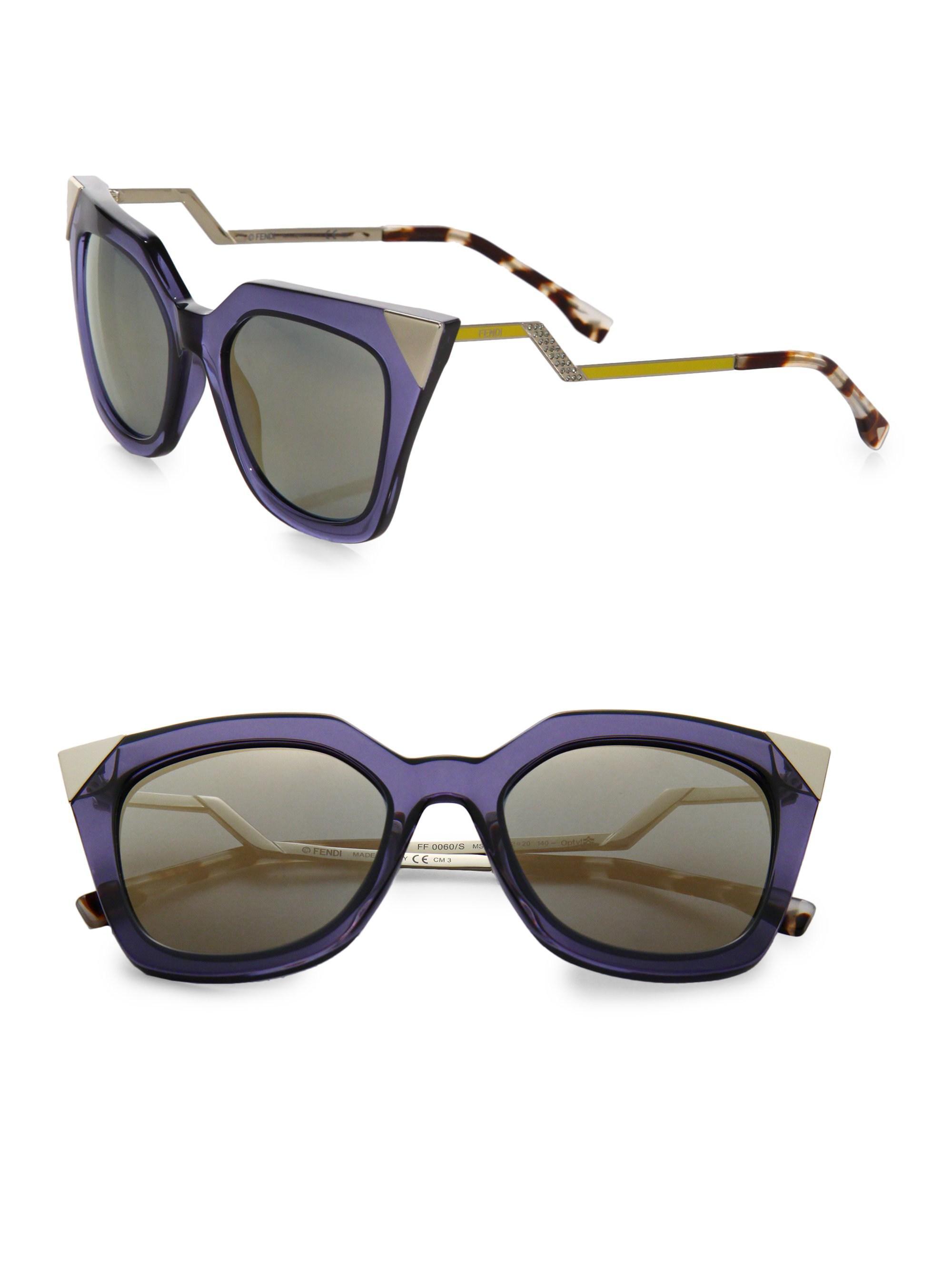ce3f704b6 Fendi Zig-zag 52mm Cat Eye Sunglasses in Blue - Lyst