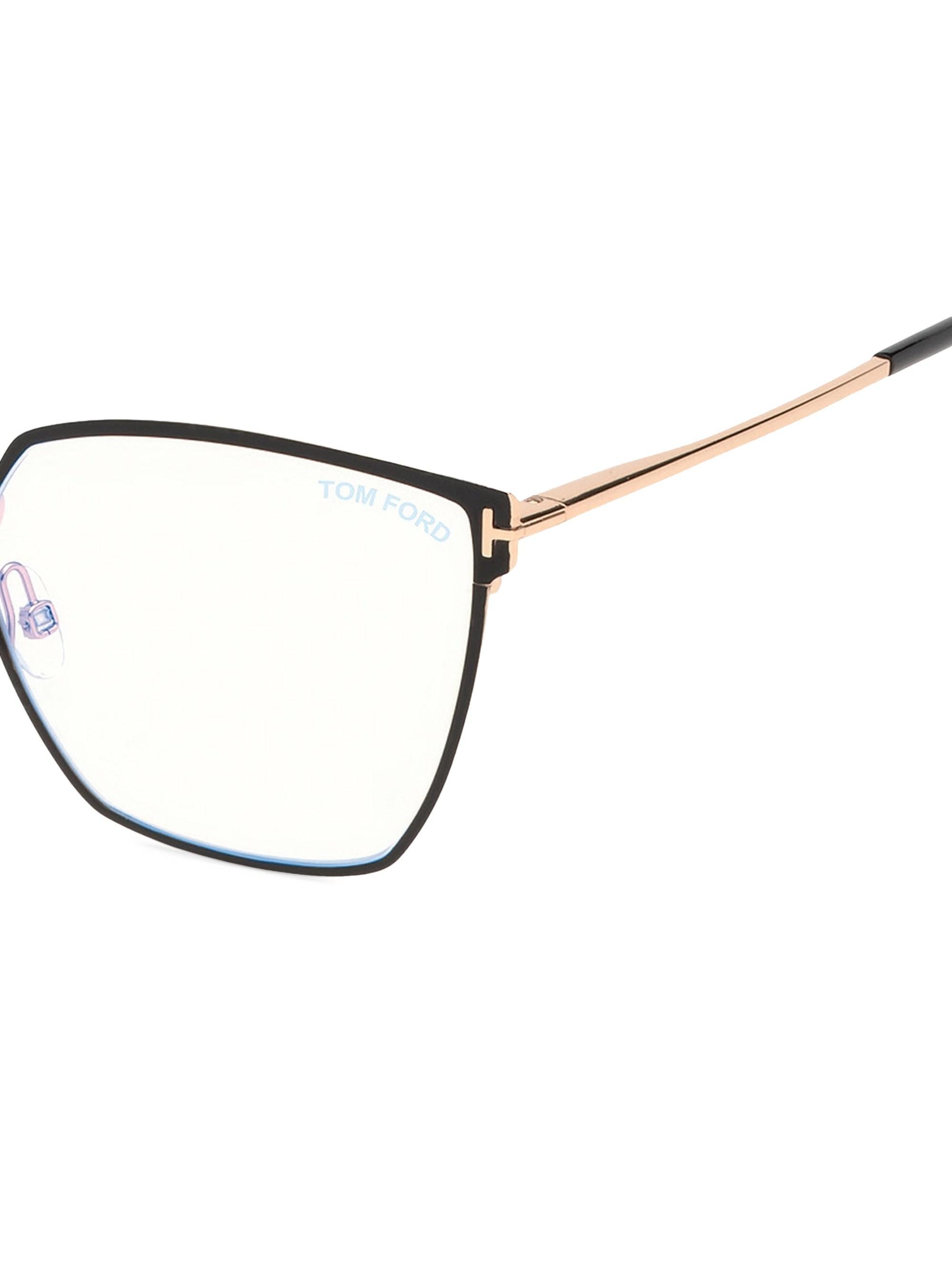 6926eeae34 Lyst - Tom Ford Women s 56mm Angular Metal Blue Block Glasses - Black in  Black