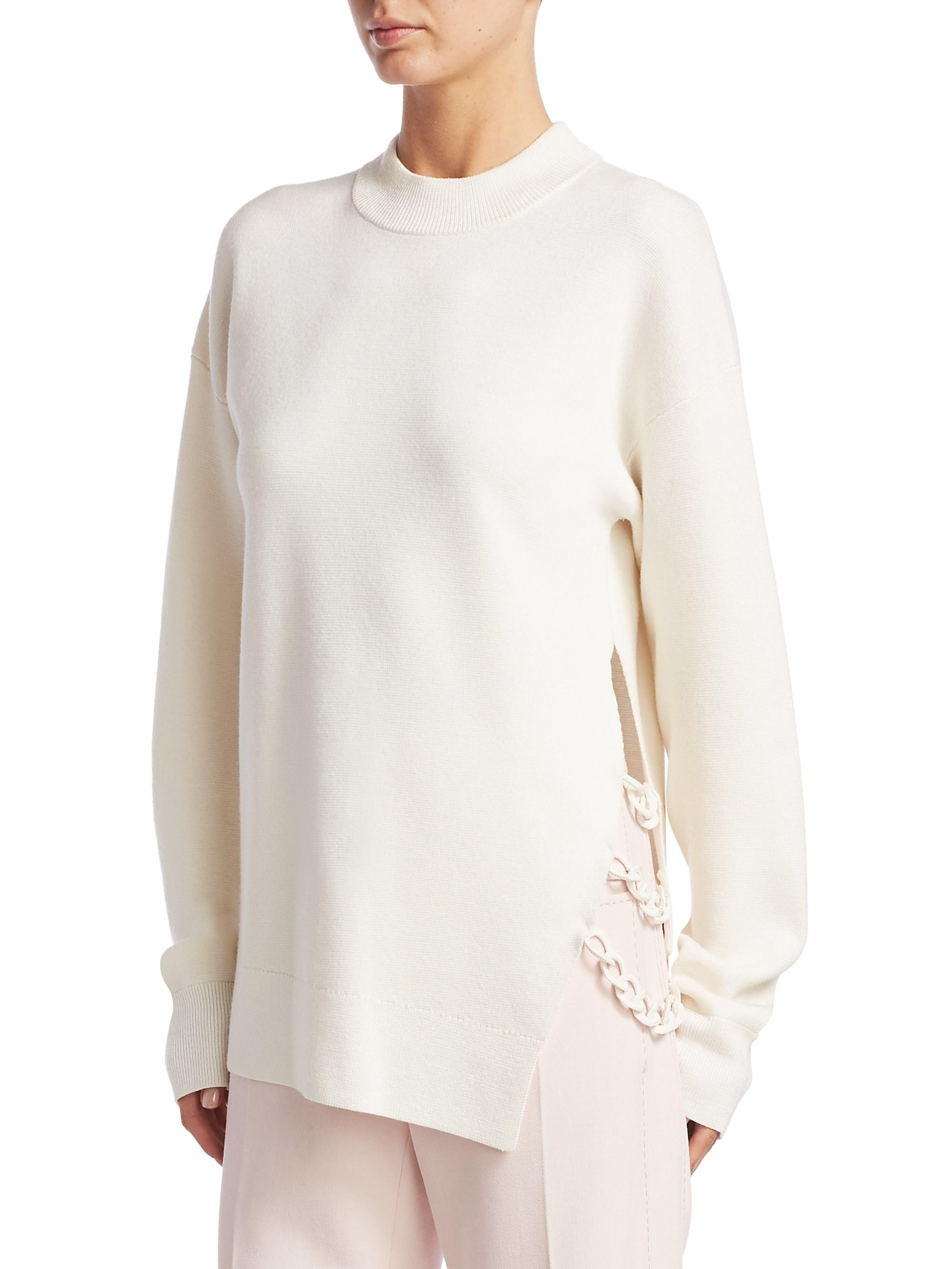 f172a460ba Carven Oversized Wool Chain Link Sweater in White - Lyst
