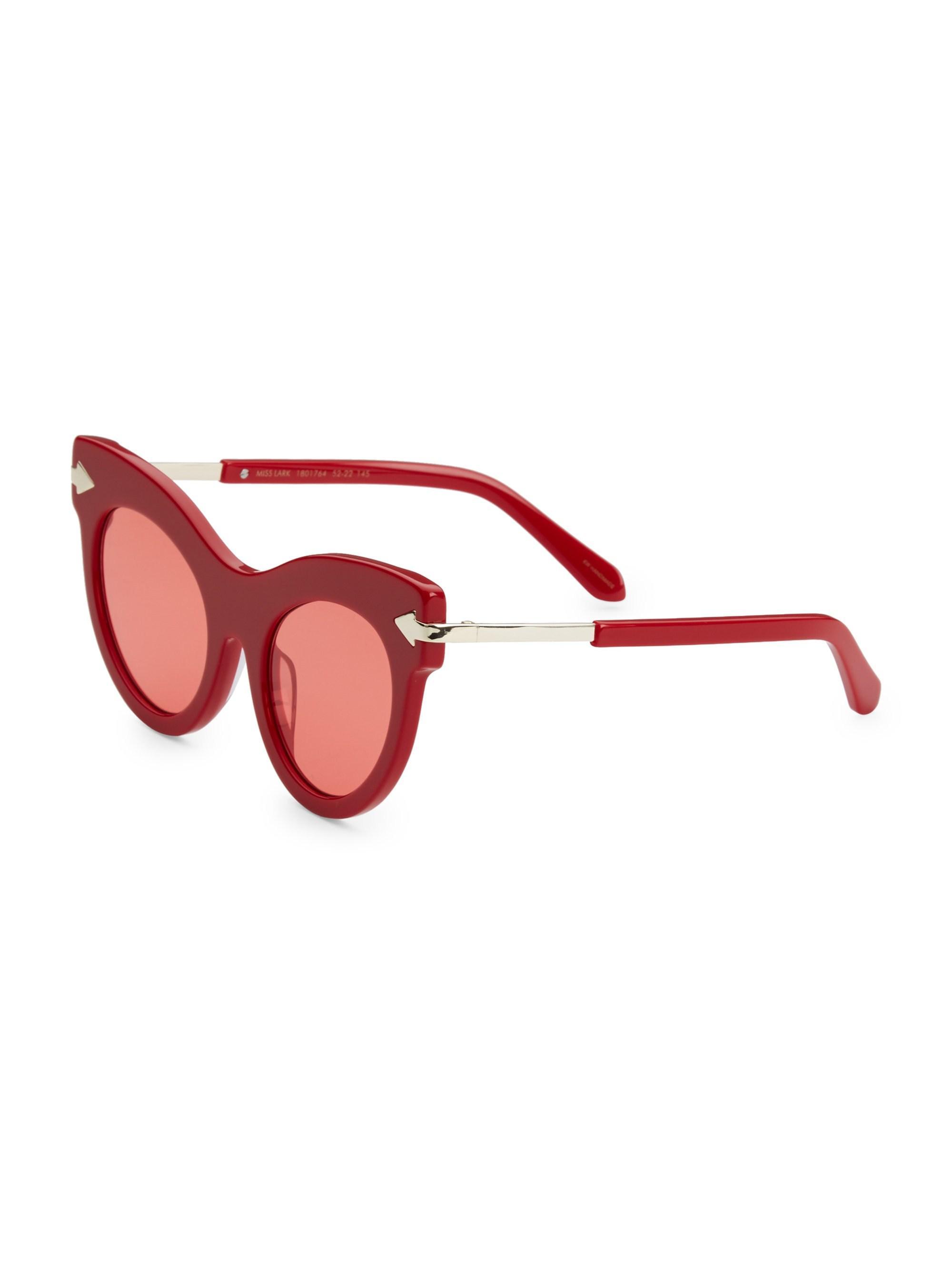 bd544d5fd4 Karen Walker - Women s 52mm Miss Lark Cat-eye Sunglasses - Red - Lyst. View  fullscreen