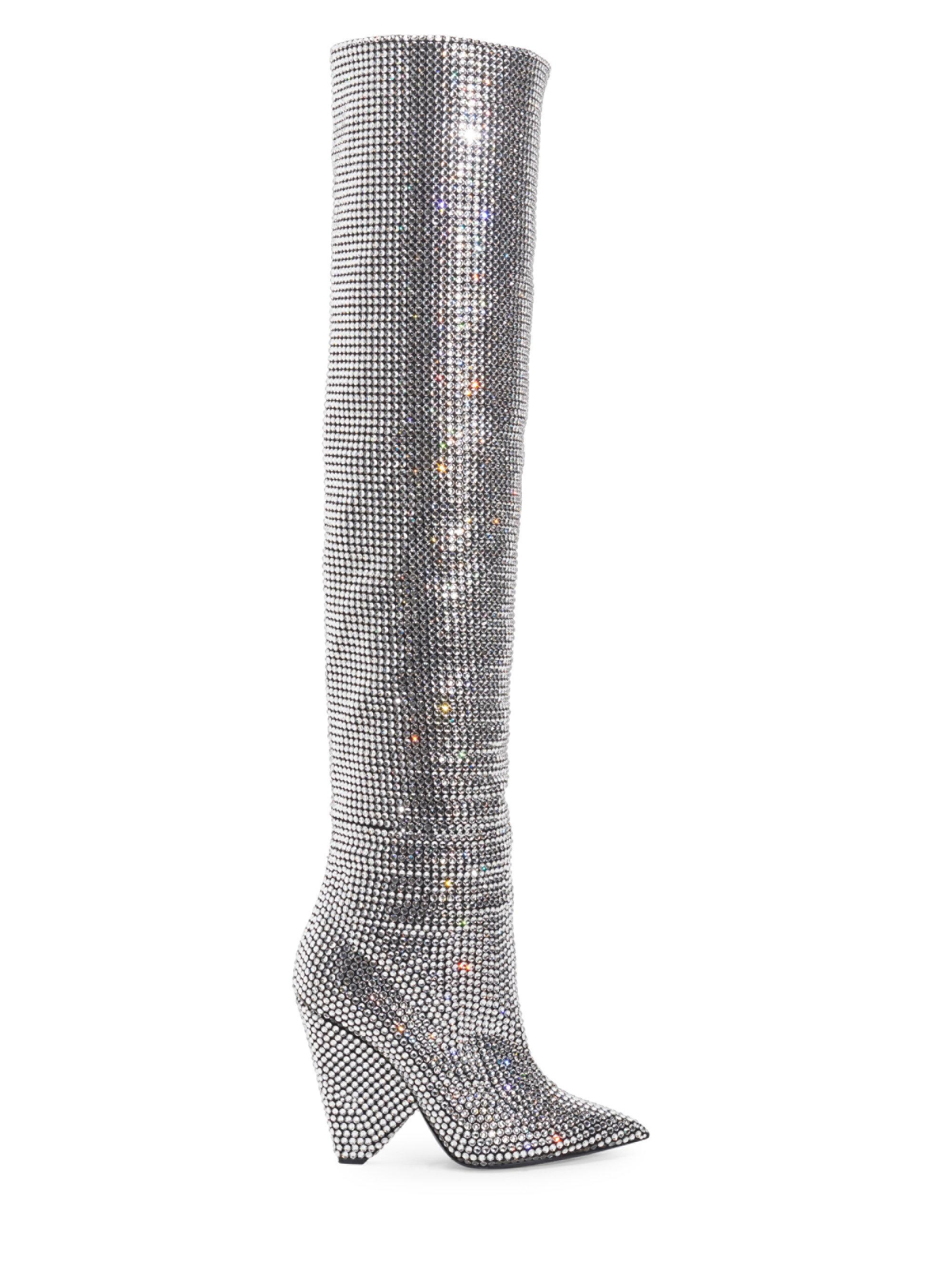 6b80733181b Lyst - Saint Laurent Niki Over-the-knee Crystal Boots in Gray
