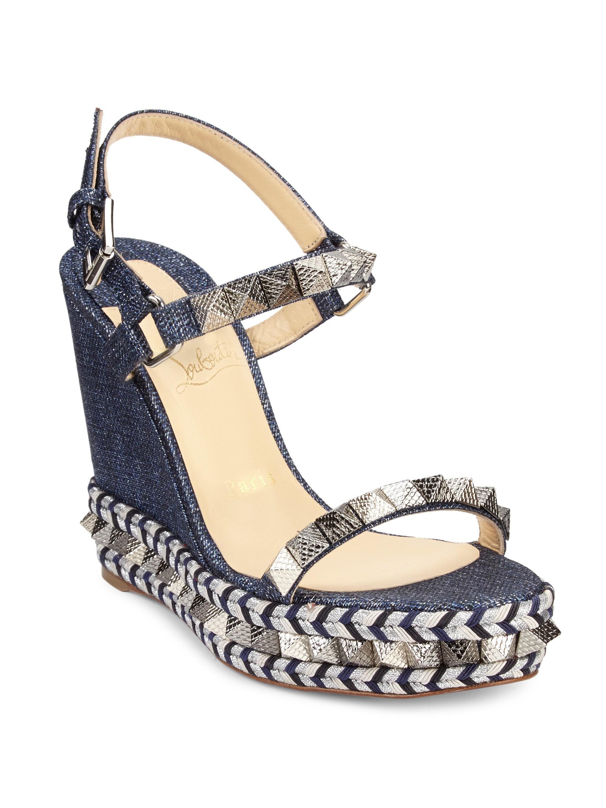 a8583a0c99 ... uk christian louboutin. womens blue pyraclou 110 denim platform sandals  76b70 1df60