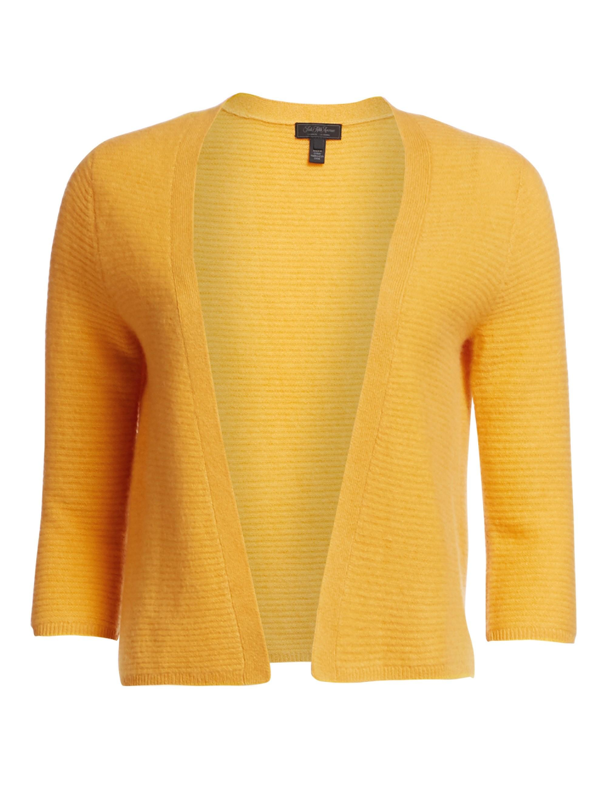 67ff751b17 Saks Fifth Avenue. Yellow Women s Link Stitch Cashmere Cardigan ...