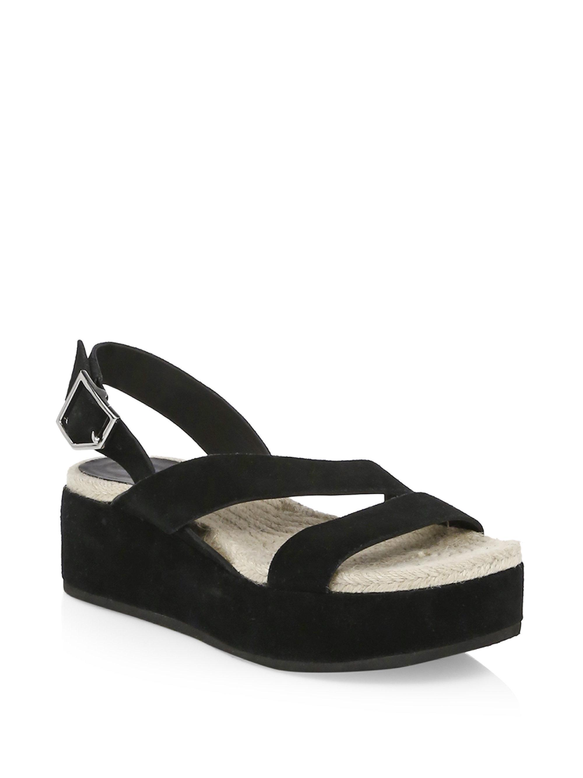 9a0d3f162e3 Rag   Bone Megan Suede Wedge Sandals in Black - Lyst