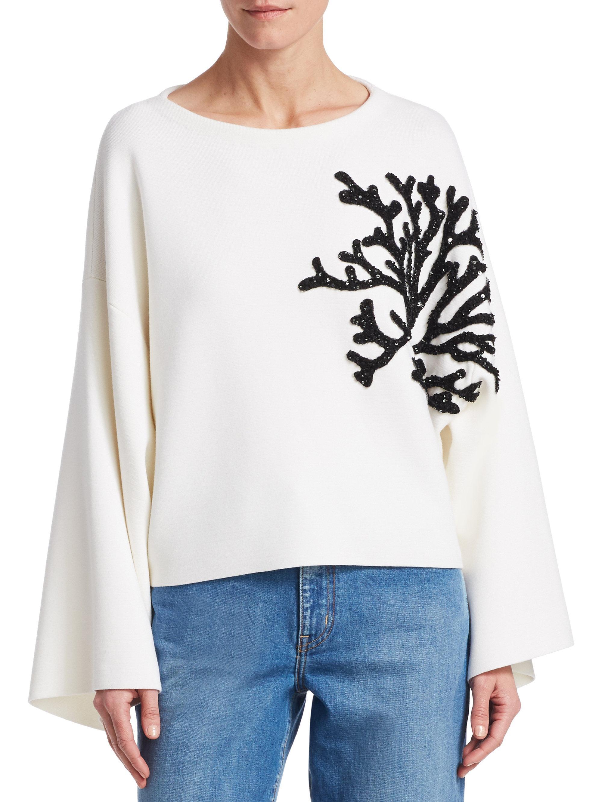 Women's Sweater De Oscar White Renta Embroidered La gUdnnaxYqt