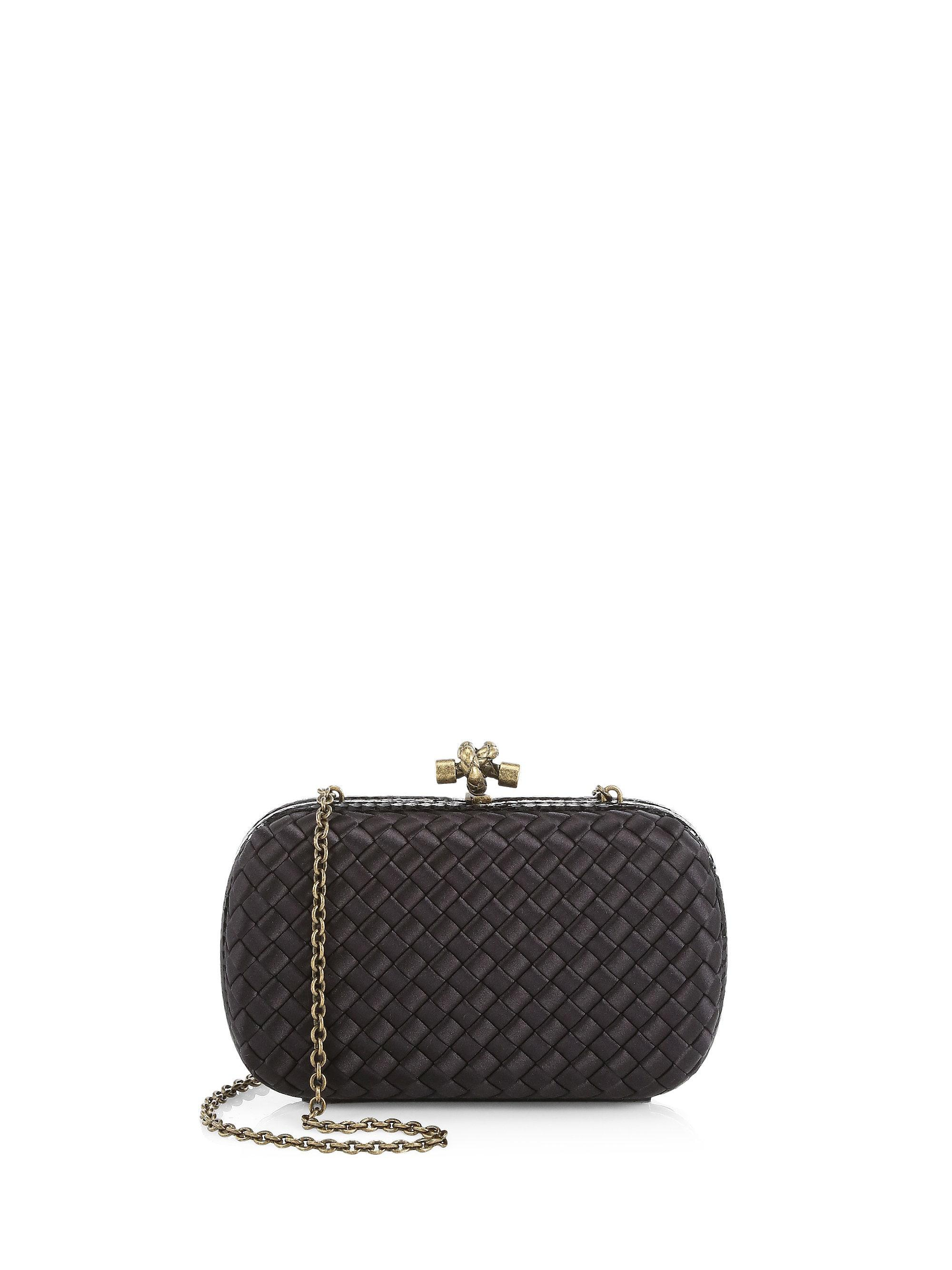 c54d40544d Bottega Veneta Chain Knot Satin Clutch in Black - Lyst