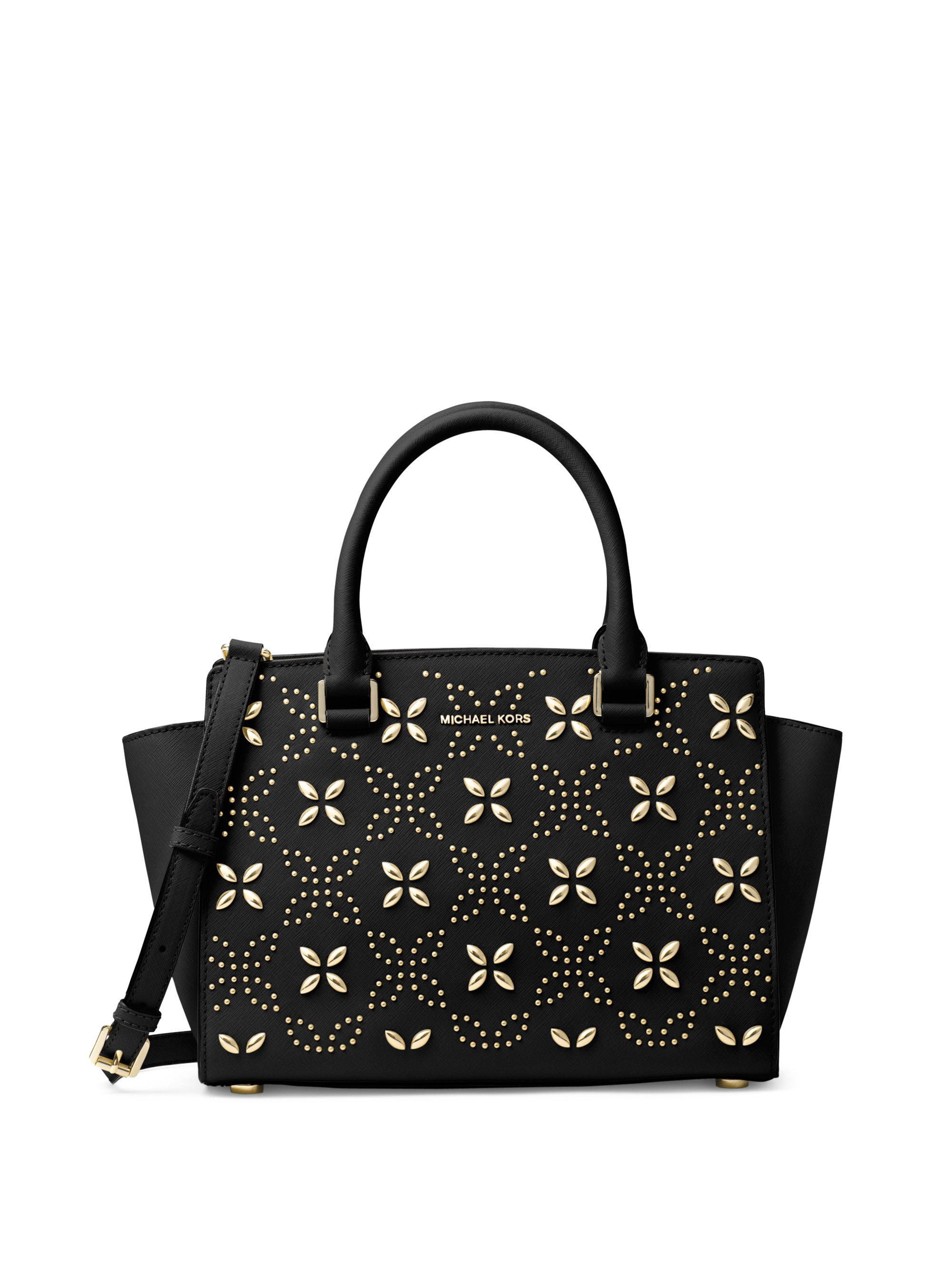 26eb033b9cac best michael kors brown signature messenger bag e742c 58466; usa lyst  michael michael kors selma floral microstud satchel in black d5b23 5532d
