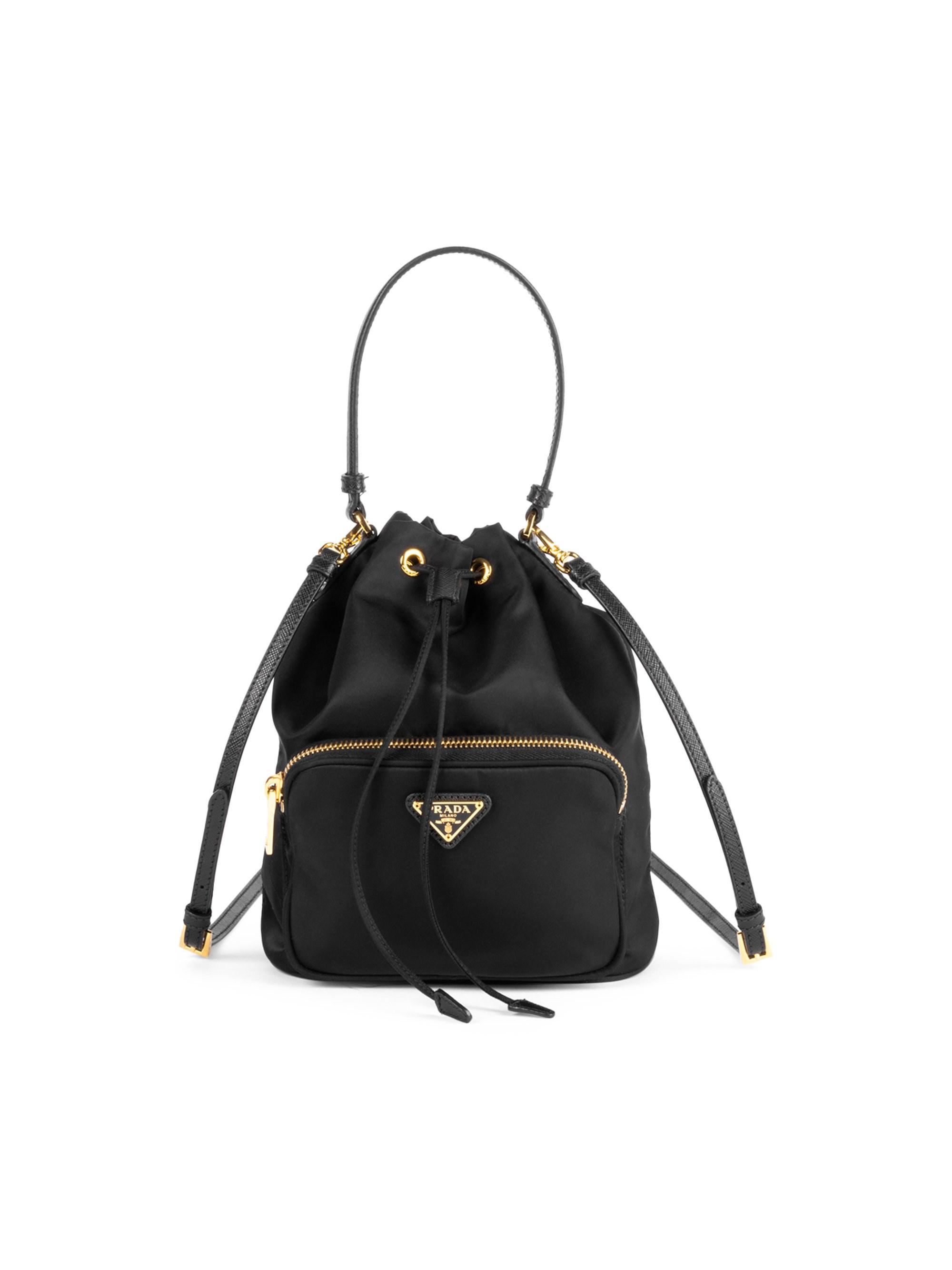 45e8bacb38e6 Lyst - Prada Women s Nylon Bucket Bag - Black in Black