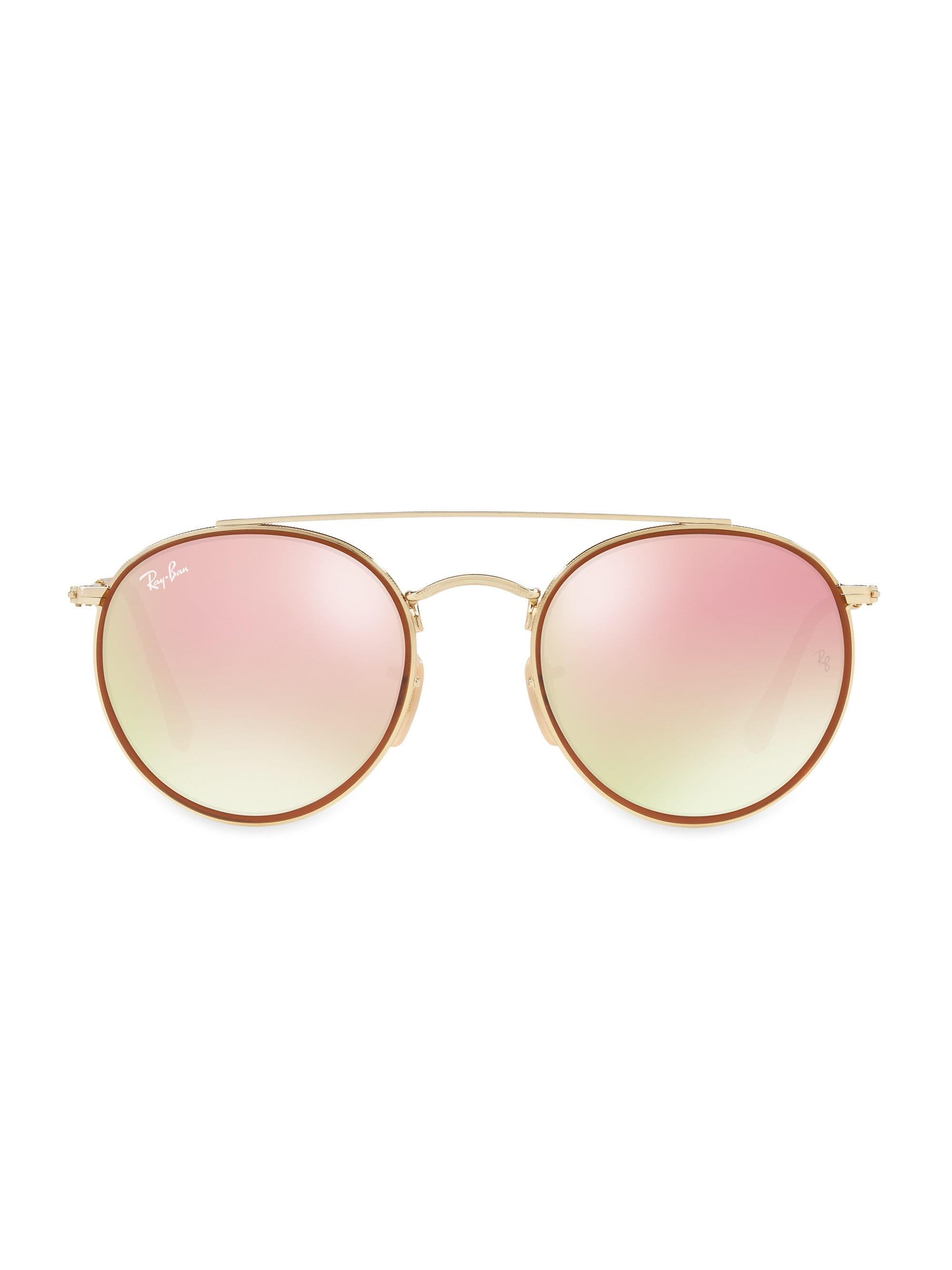 cce83d398f6 Ray-Ban. Women s 51mm Mirrored Round Double Bridge Sunglasses - Gold Pink