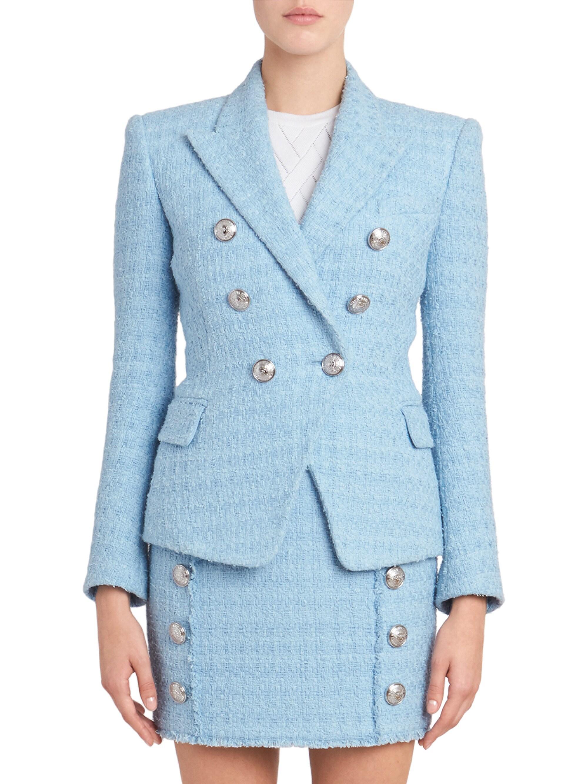 Balmain Womens Six-button Tweed Jacket - Pastel Blue in