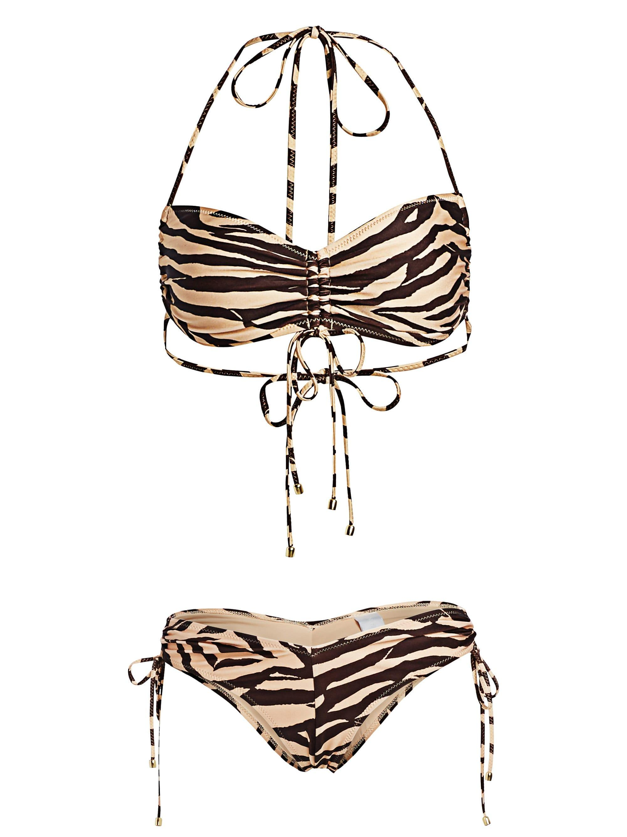 6eee4ffa82 Lyst - Zimmermann Women's Juniper Ruched Animal Print Bikini Set ...