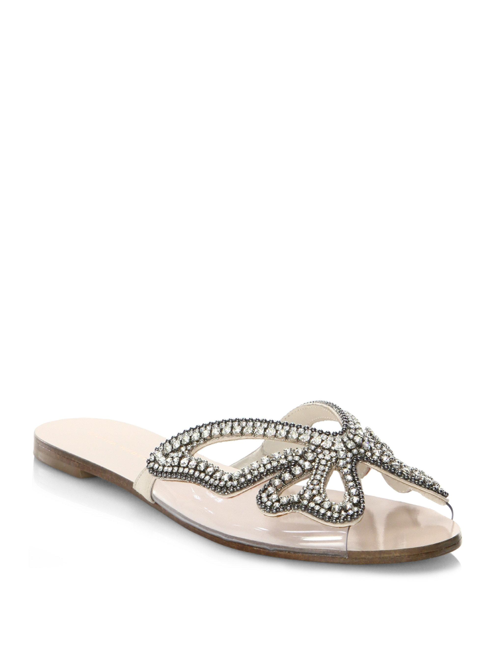 SOPHIA WEBSTER Madame Butterfly Crystal Suede Slides drHhXx87wI