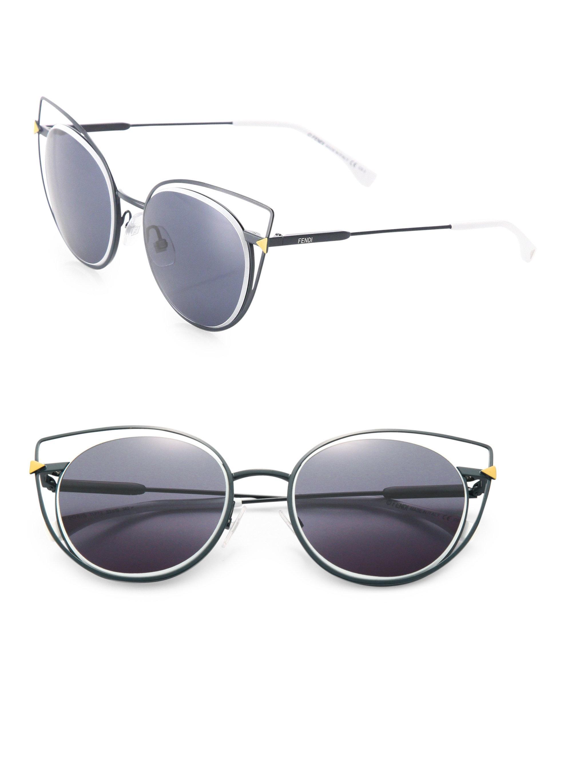 Lyst - Fendi 53mm Wired Cat Eye Frame Sunglasses in Blue