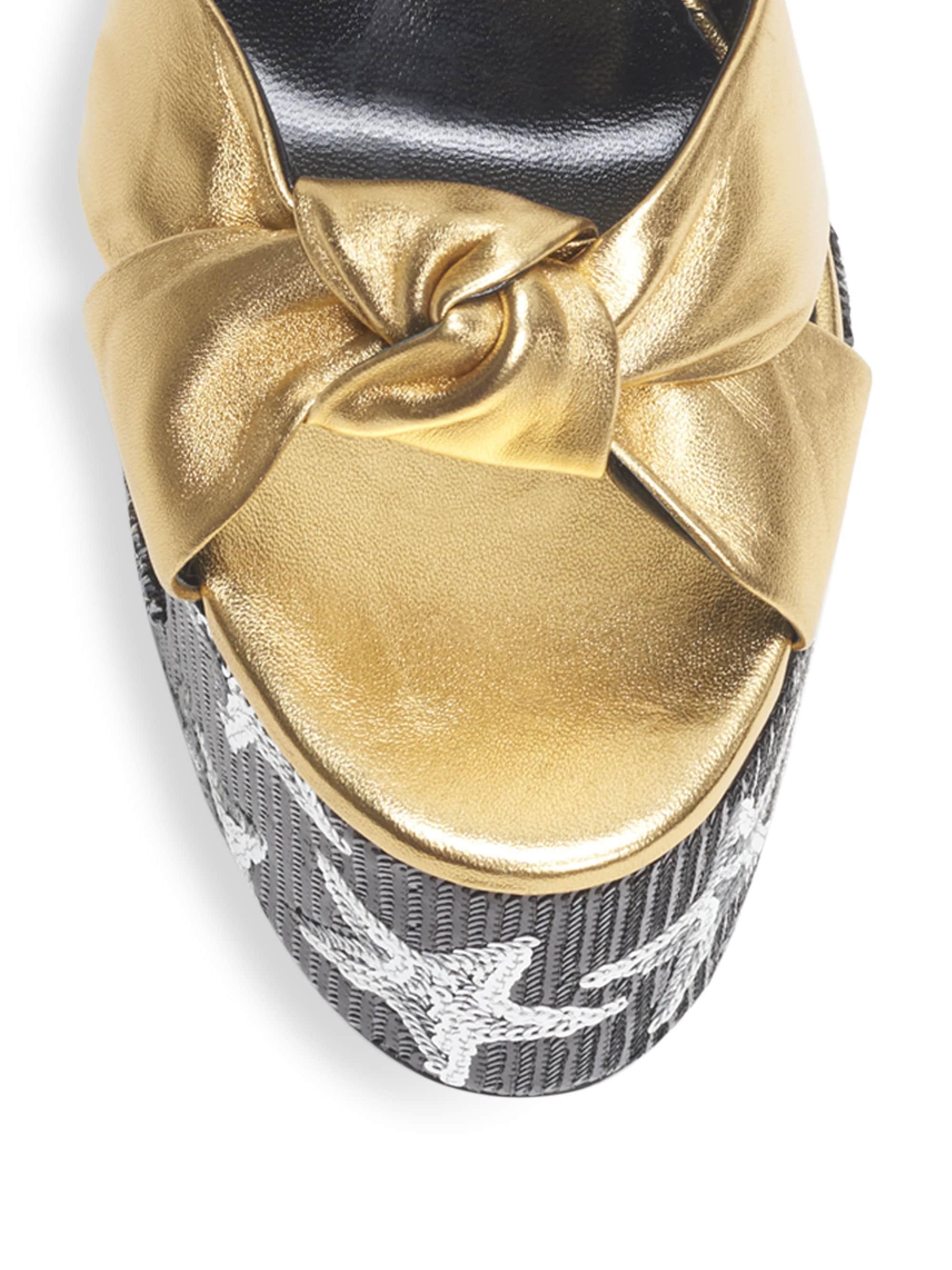f90e84120494 Lyst - Saint Laurent Women s Paige Sequin Leather Platform Sandals - Gold  in Metallic