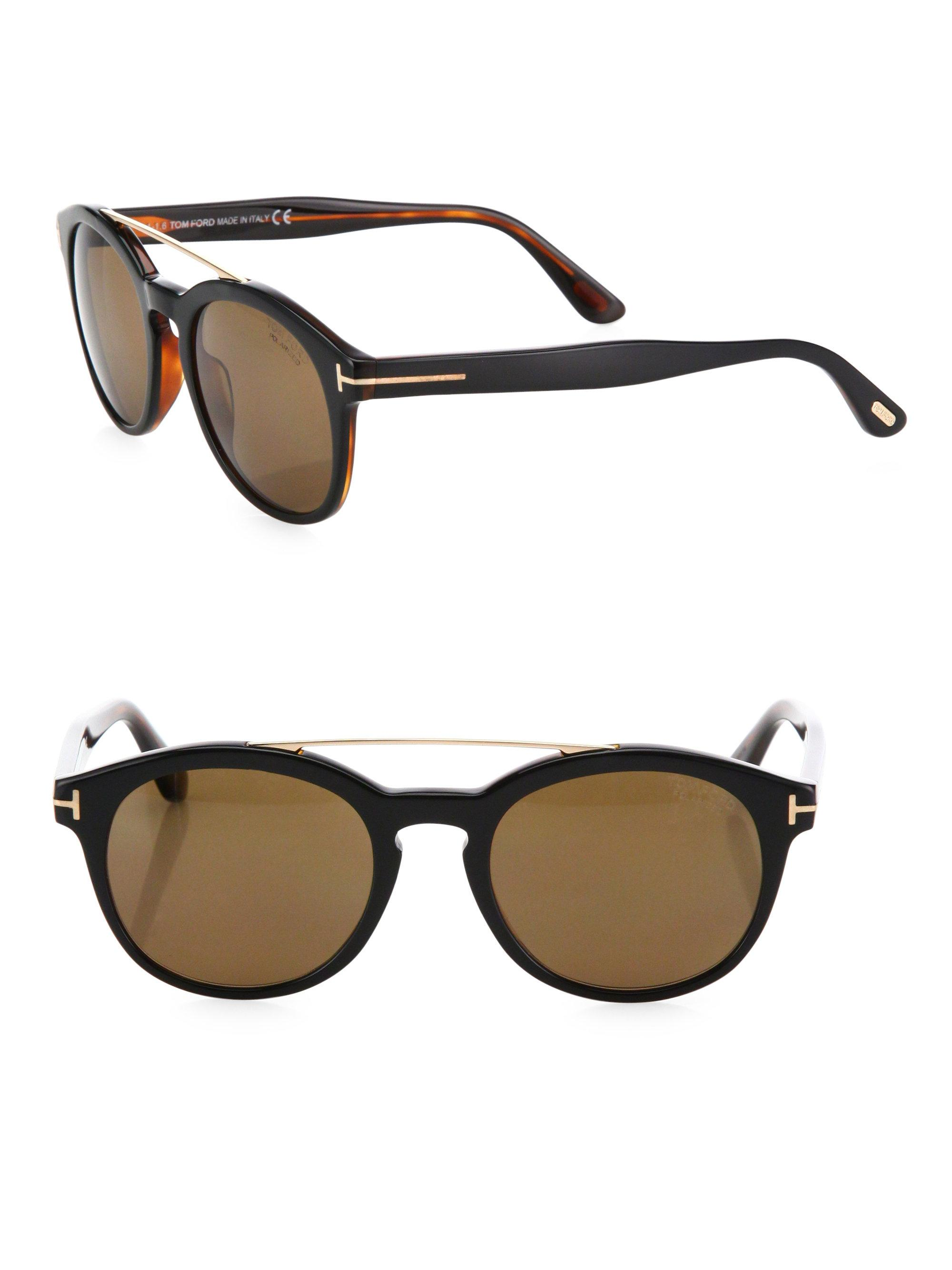 dcc460e94856f Lyst - Tom Ford 53mm Polarized Round Sunglasses in Black