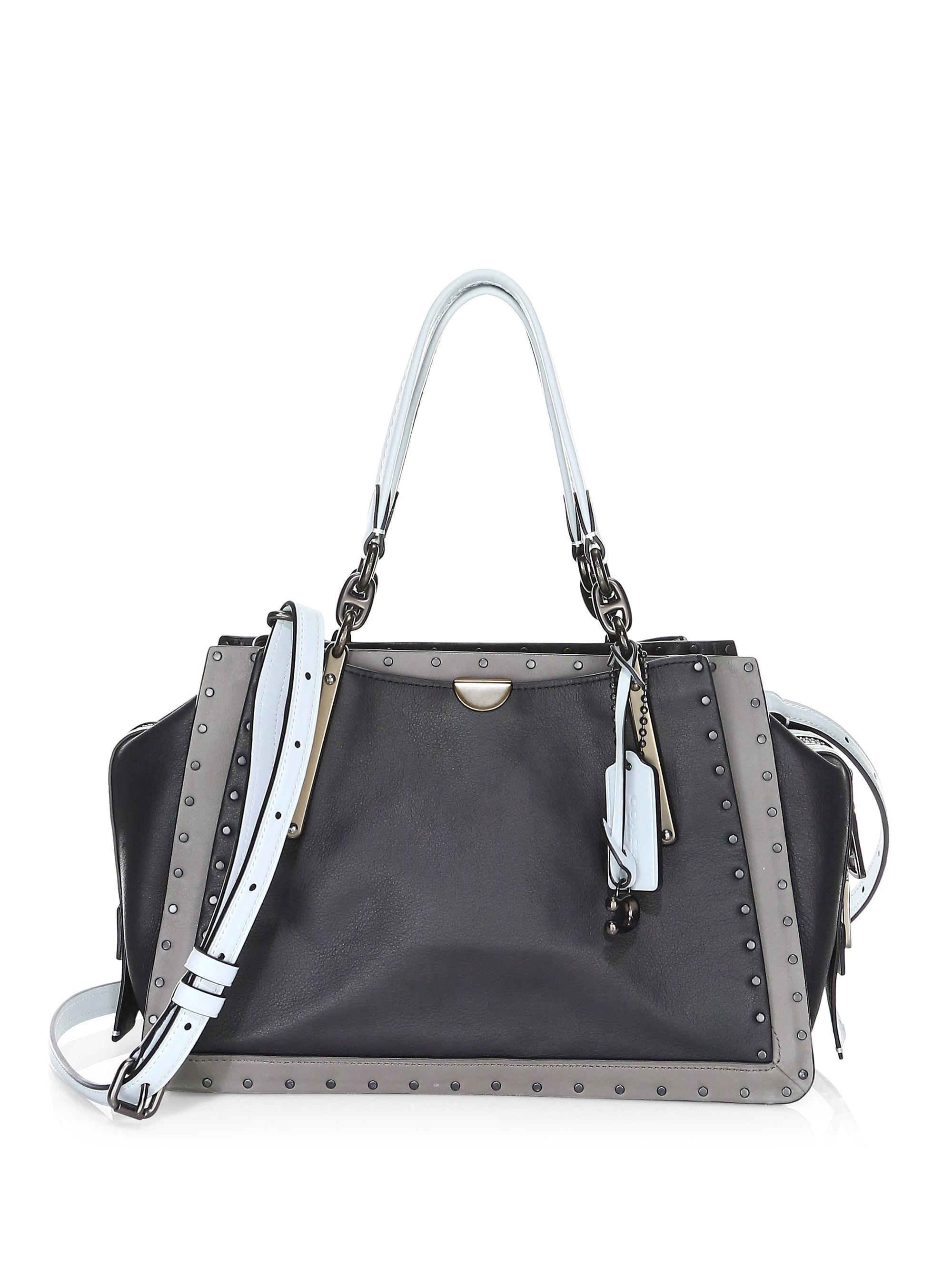 b4c68bb2e8 ... france coach dreamer rivet trim leather tote bag in black lyst 53925  71865