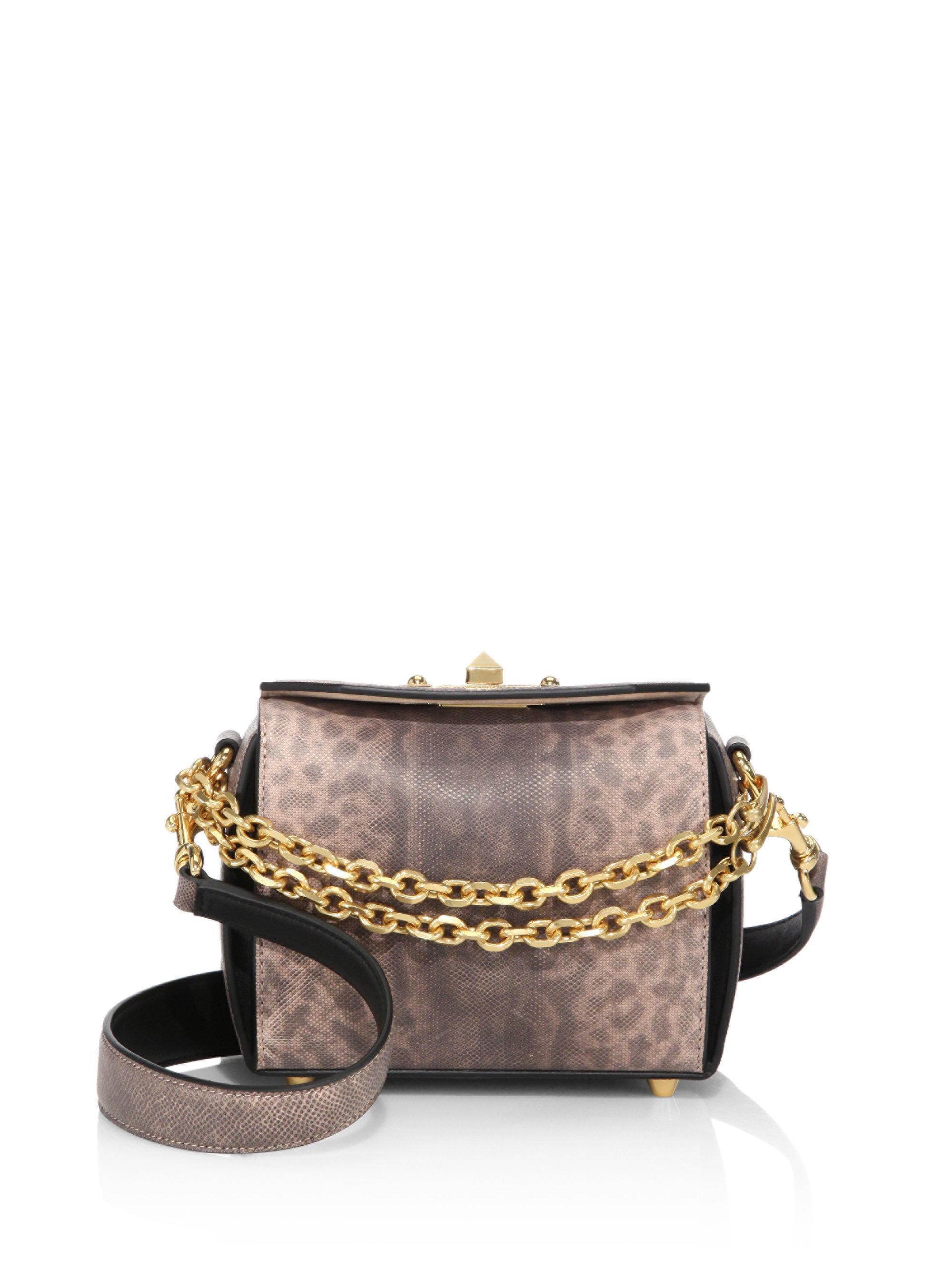 Box Bag 16 Faux Pearl-embellished Leather Shoulder Bag - Black Alexander McQueen x54K24U0