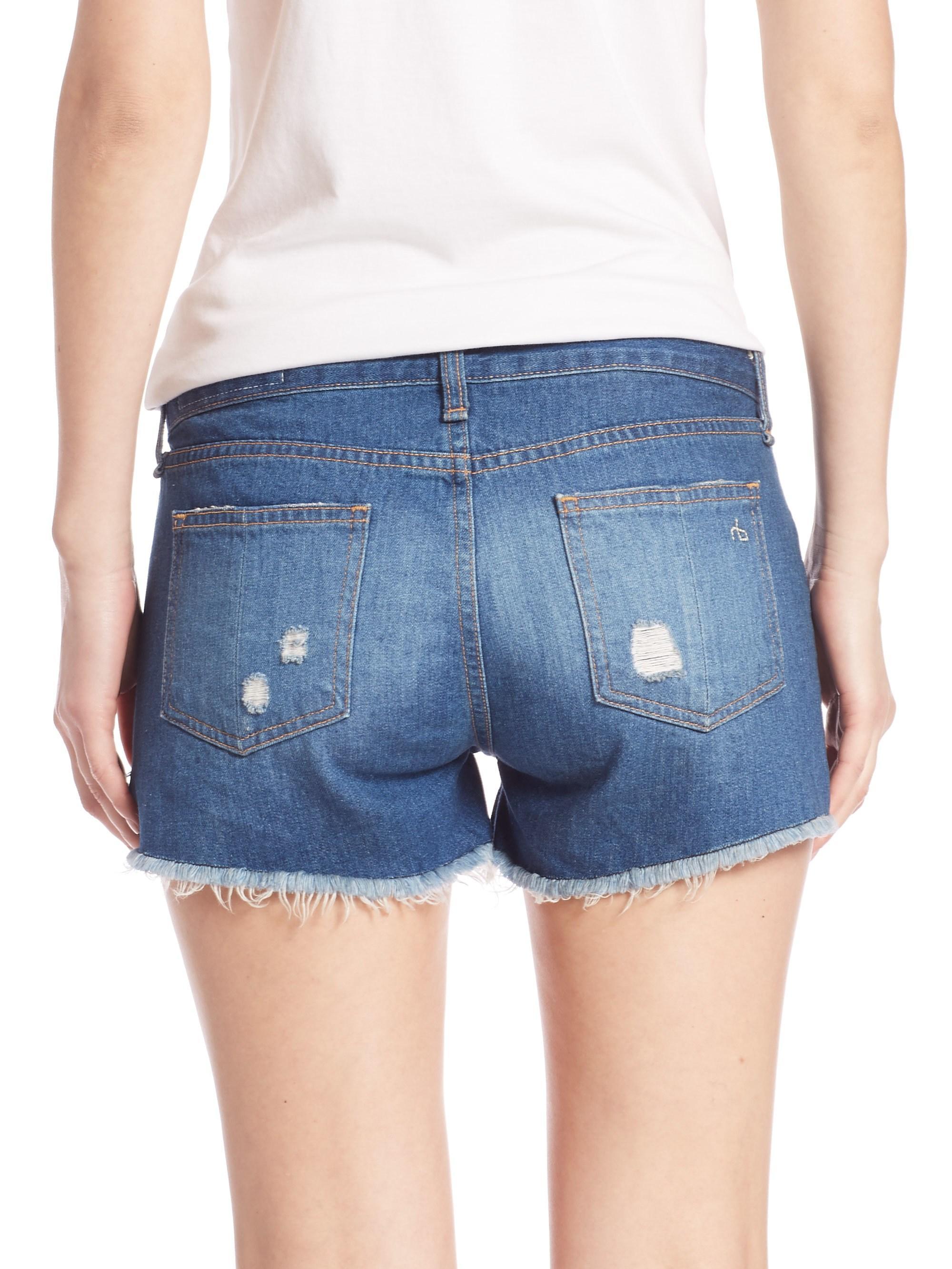 31b65a00e38 Rag   Bone - Blue Cut-off Distressed Denim Shorts freeport - Lyst. View  fullscreen