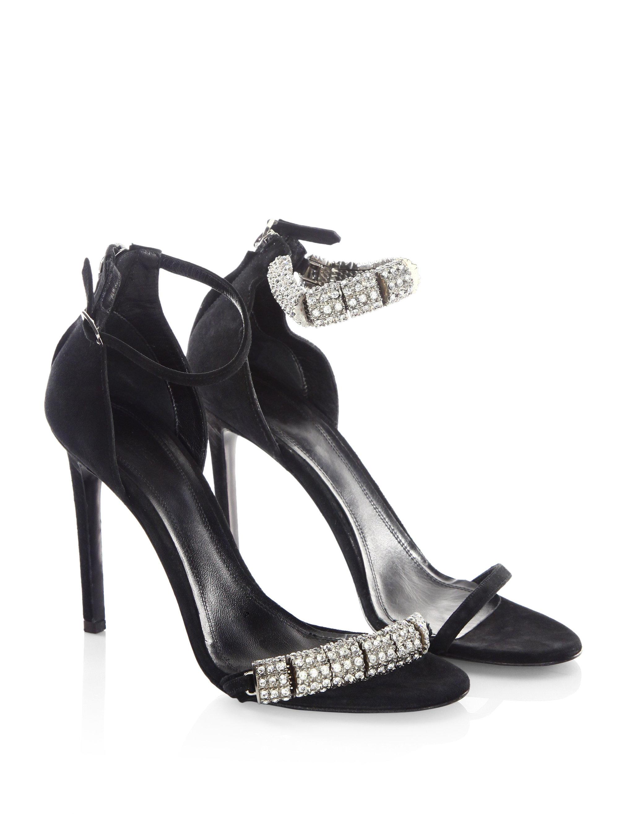 c4b2ff902d6683 Lyst - CALVIN KLEIN 205W39NYC Camelle Jeweled Suede Ankle-strap ...
