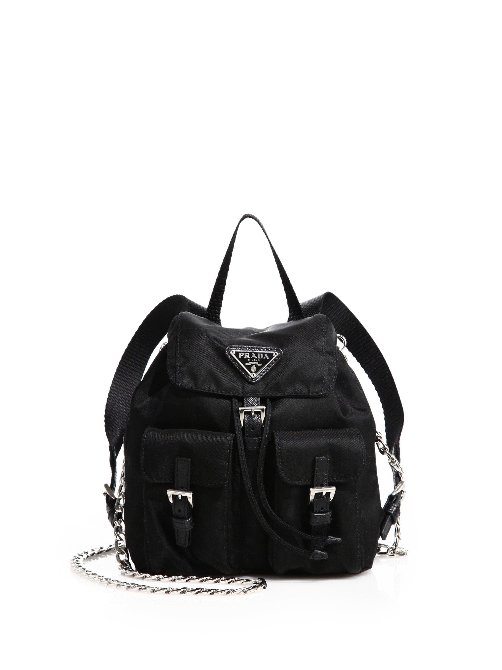ca52d49002df ... sale lyst prada calf leather single handle backpack in black acea1 f4839
