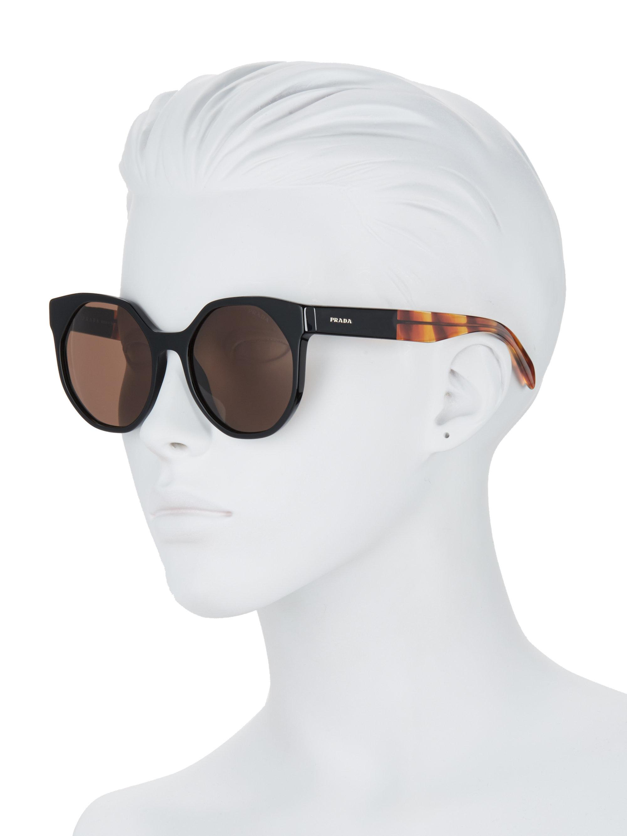 fc460e8503f ... usa prada multicolor 55mm round cat eye sunglasses lyst. view  fullscreen 46562 405db ...
