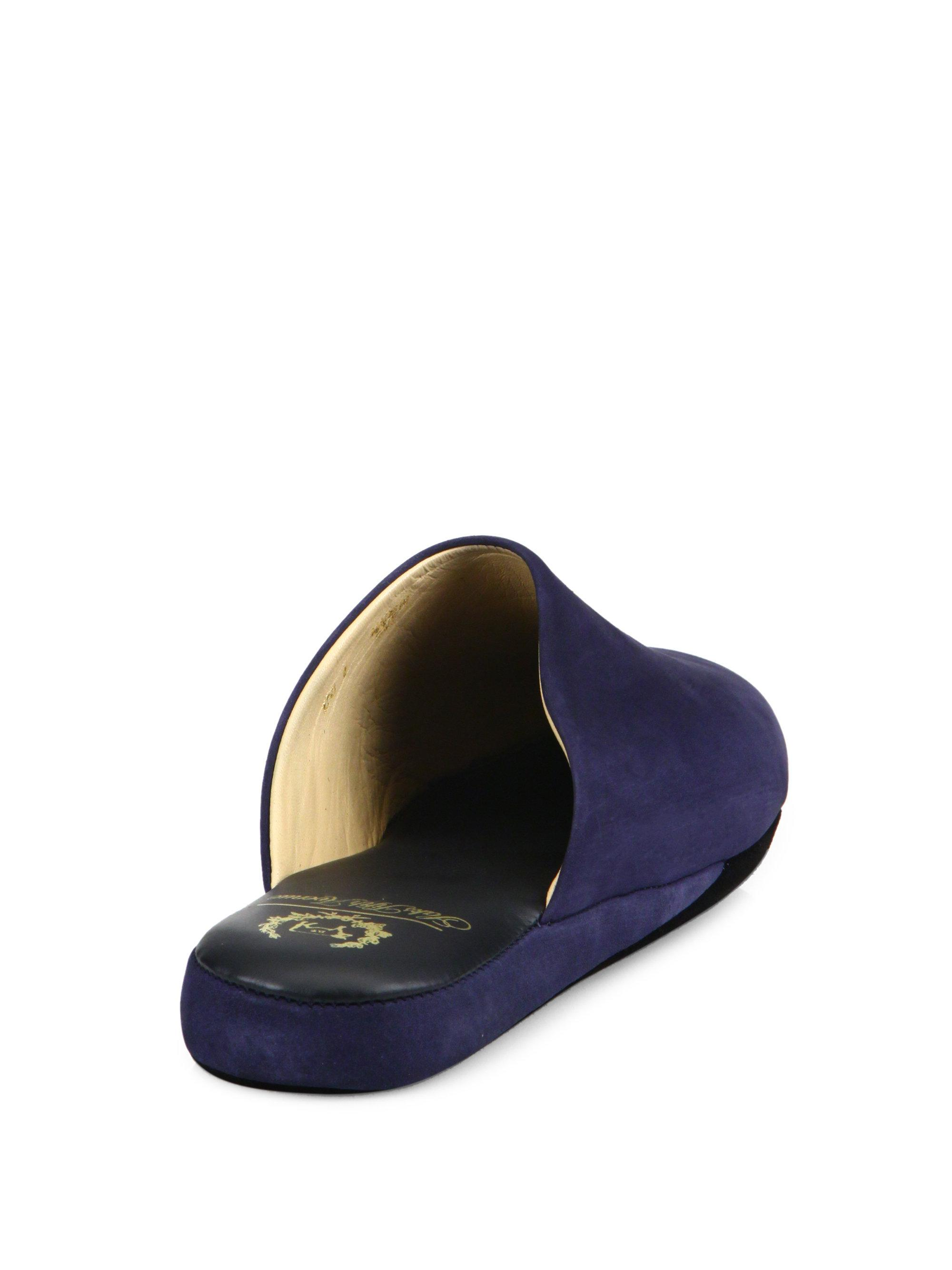 lyst del toro french bulldog embroidered leather house slippers in