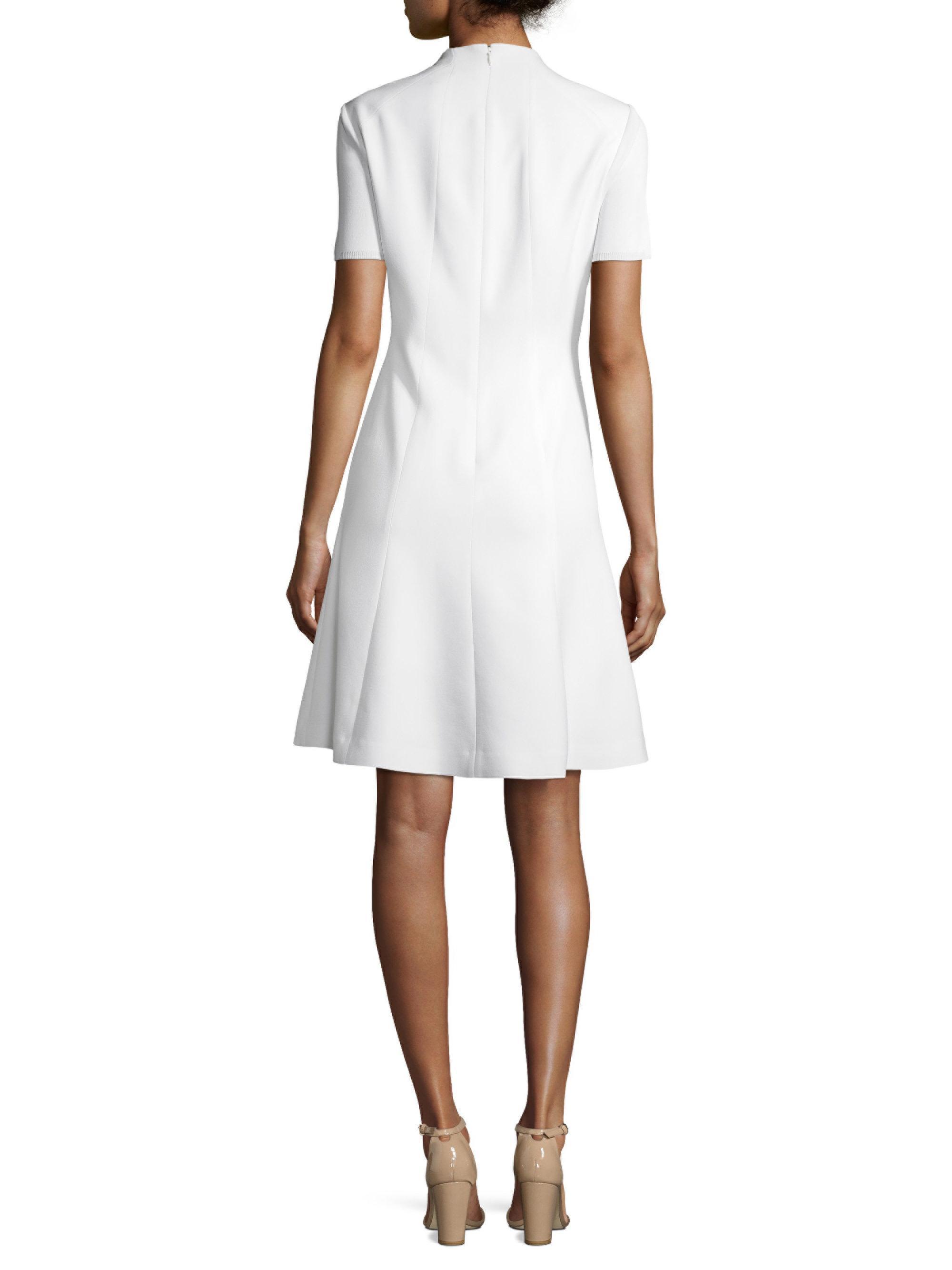cca474feb403 Elie Tahari Yuki Hardware Splitneck Flare Dress in White - Lyst