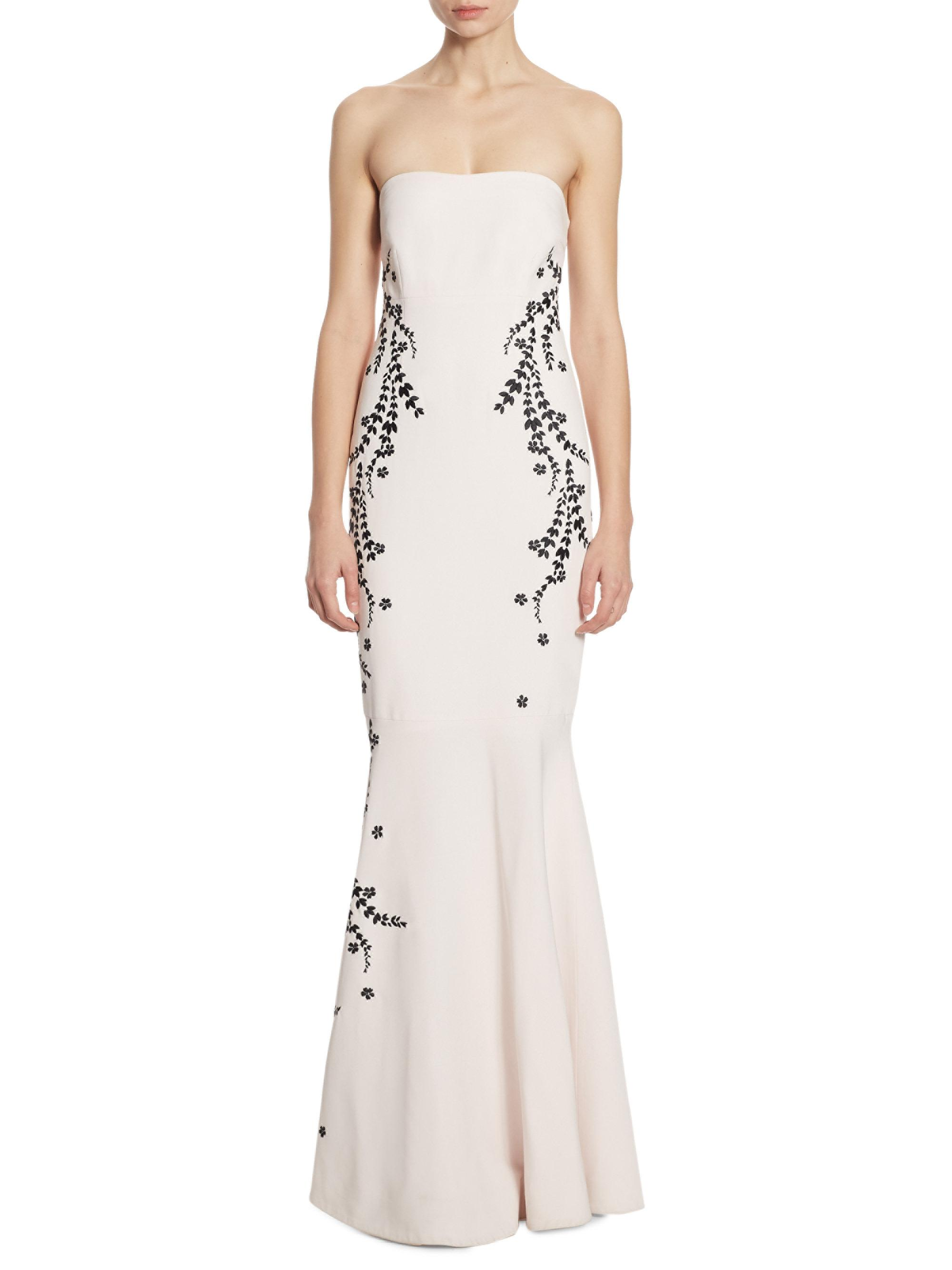 c7fd626eb42a Cinq À Sept Luna Embroidered Strapless Gown - Lyst