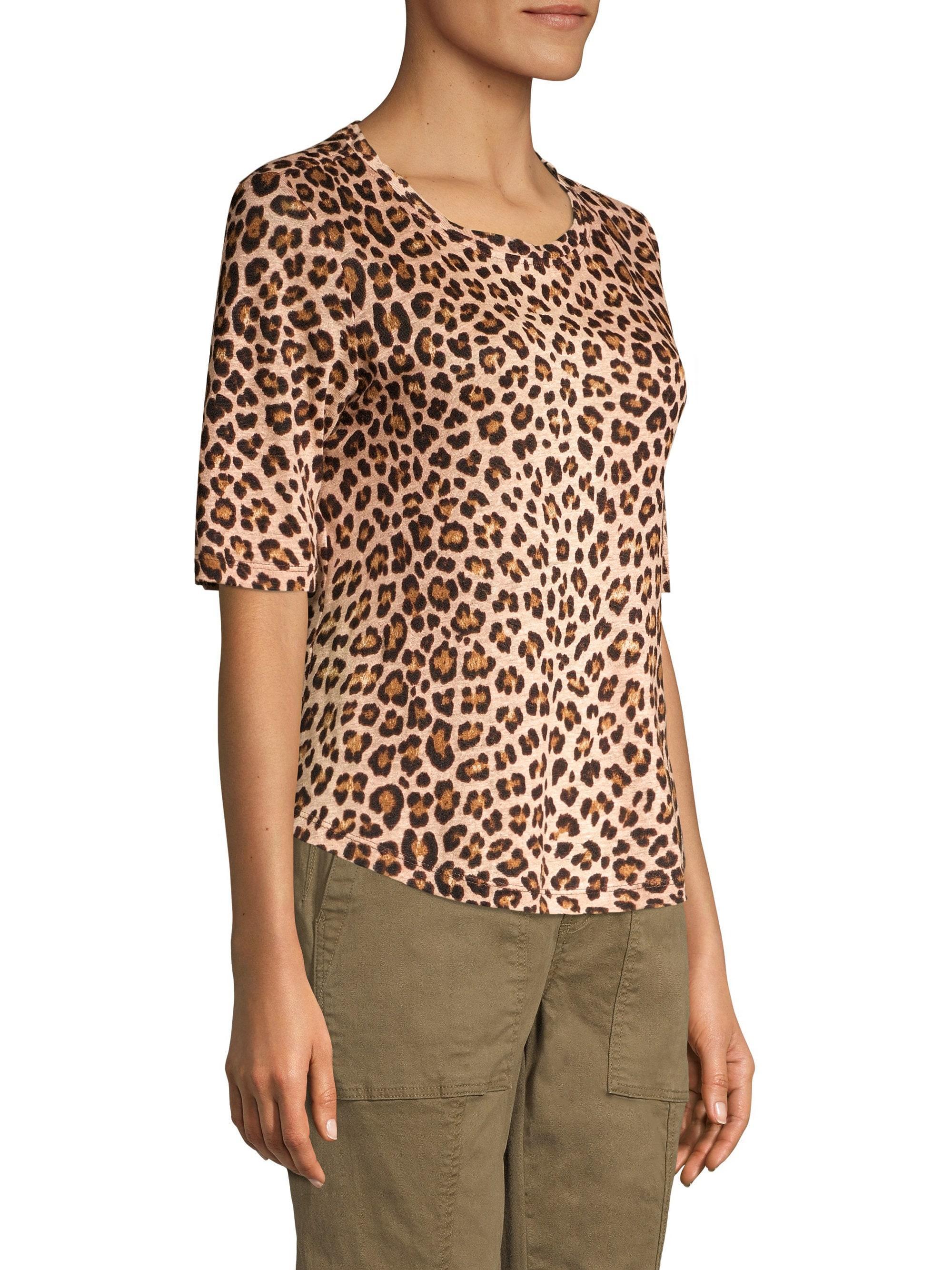07b7661256fb Lyst - Rebecca Taylor Women's Leopard Print Tee - Biscuit