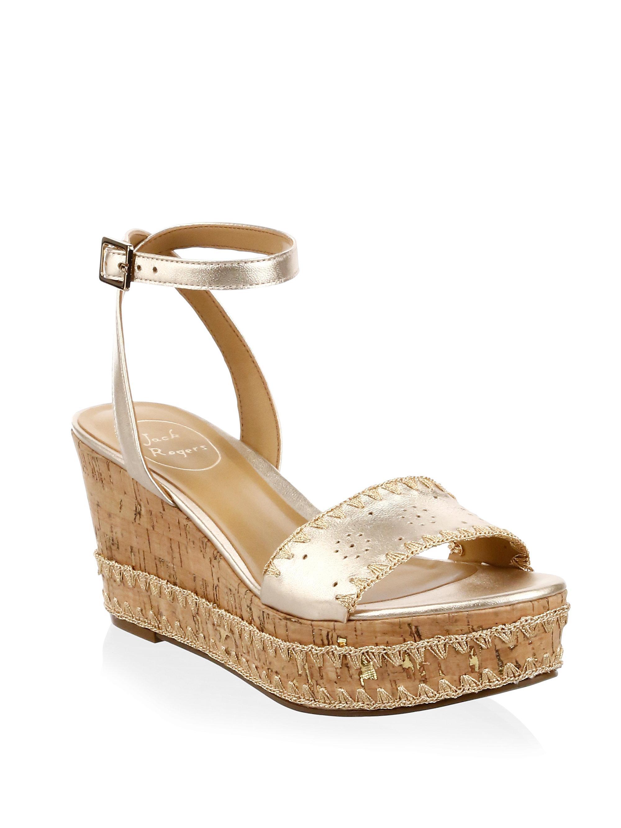 Jack Rogers Women's Lennon Leather & Cork Wedge Platform Sandals