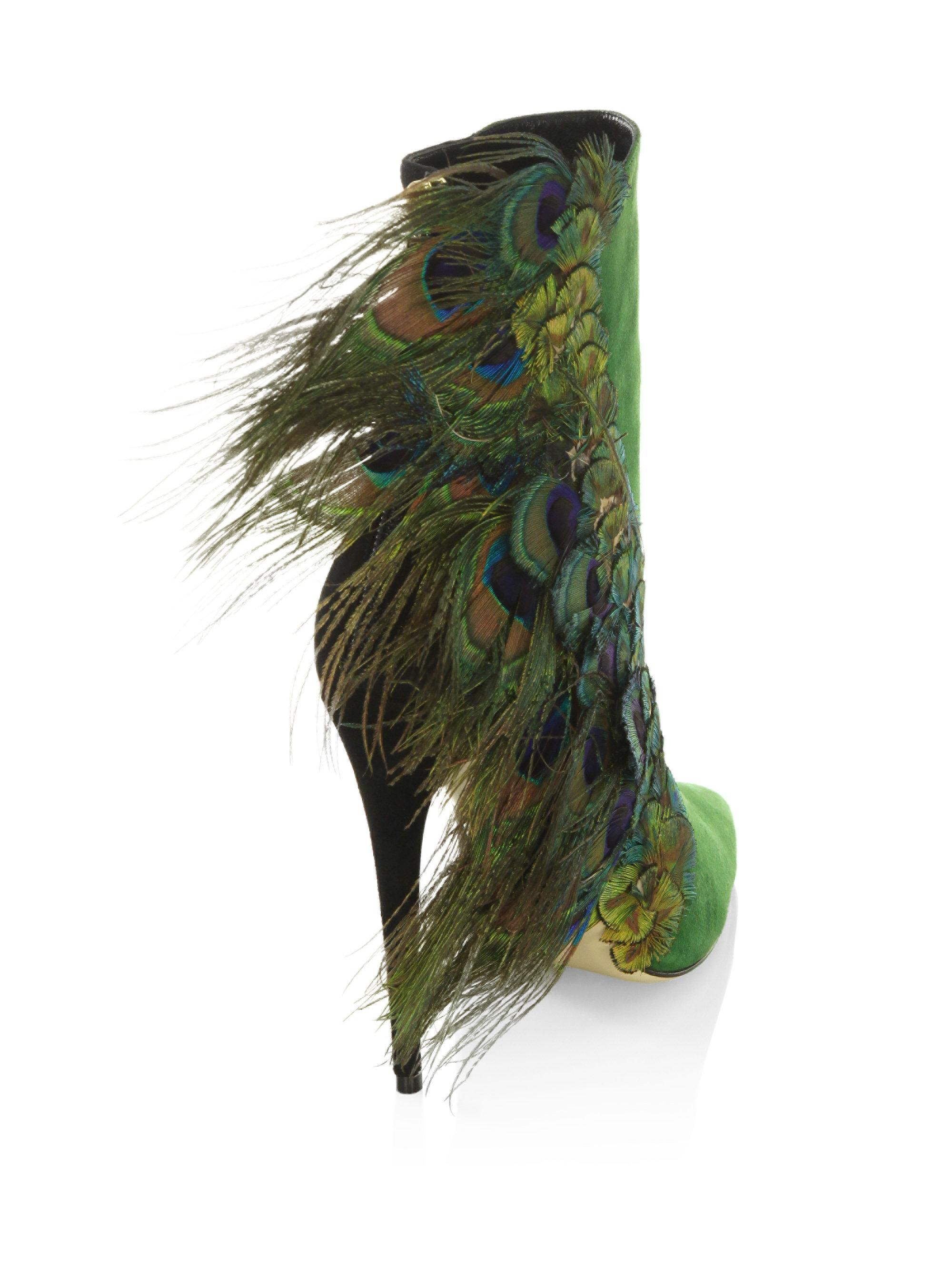 PAUL ANDREWLimited-Edition Pana Peacock Feather & Suede Booties fCQAYhgSC