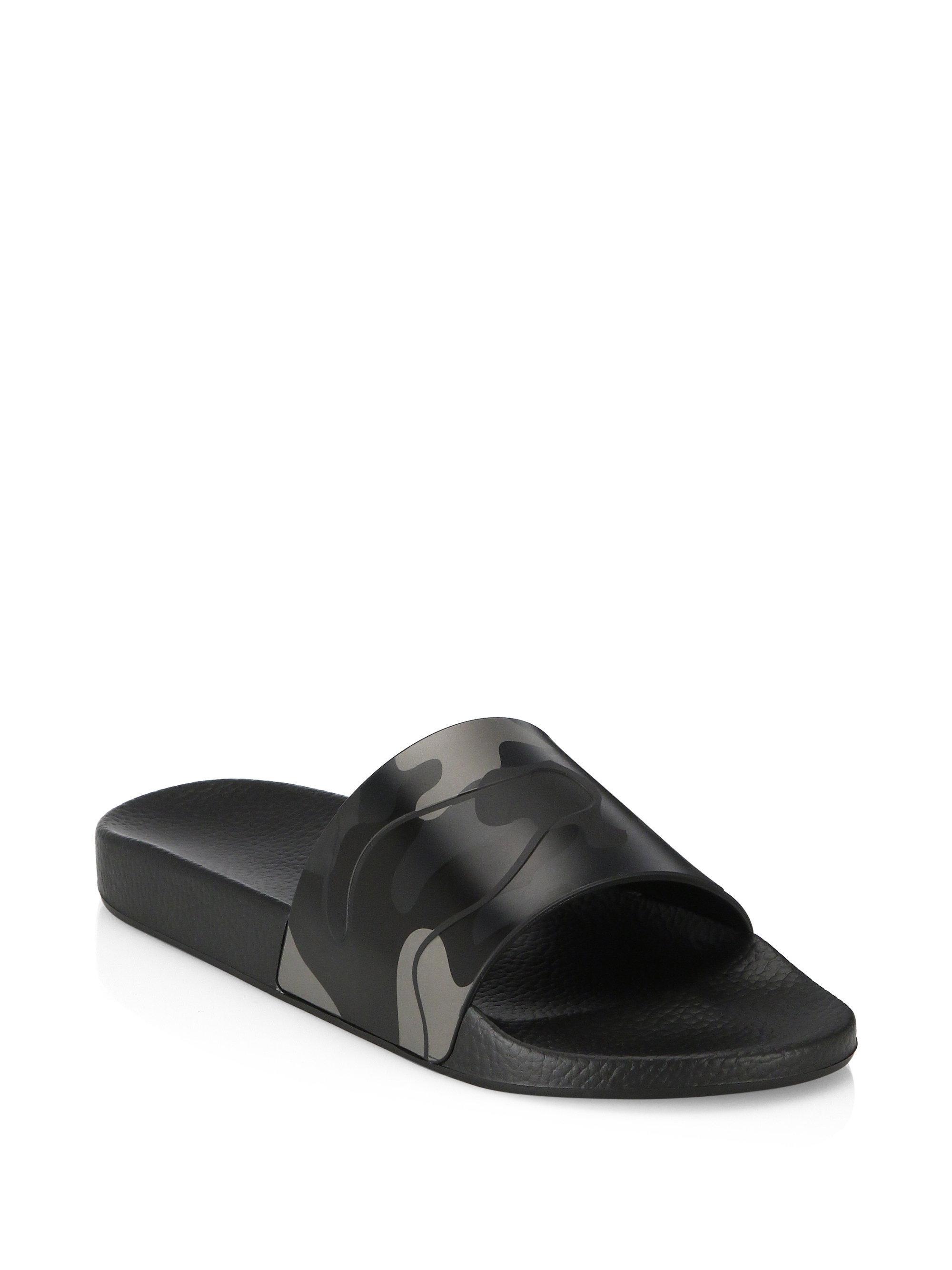 cd4bb3e06d88 Lyst - Valentino Camo Rubber Slides in Black for Men