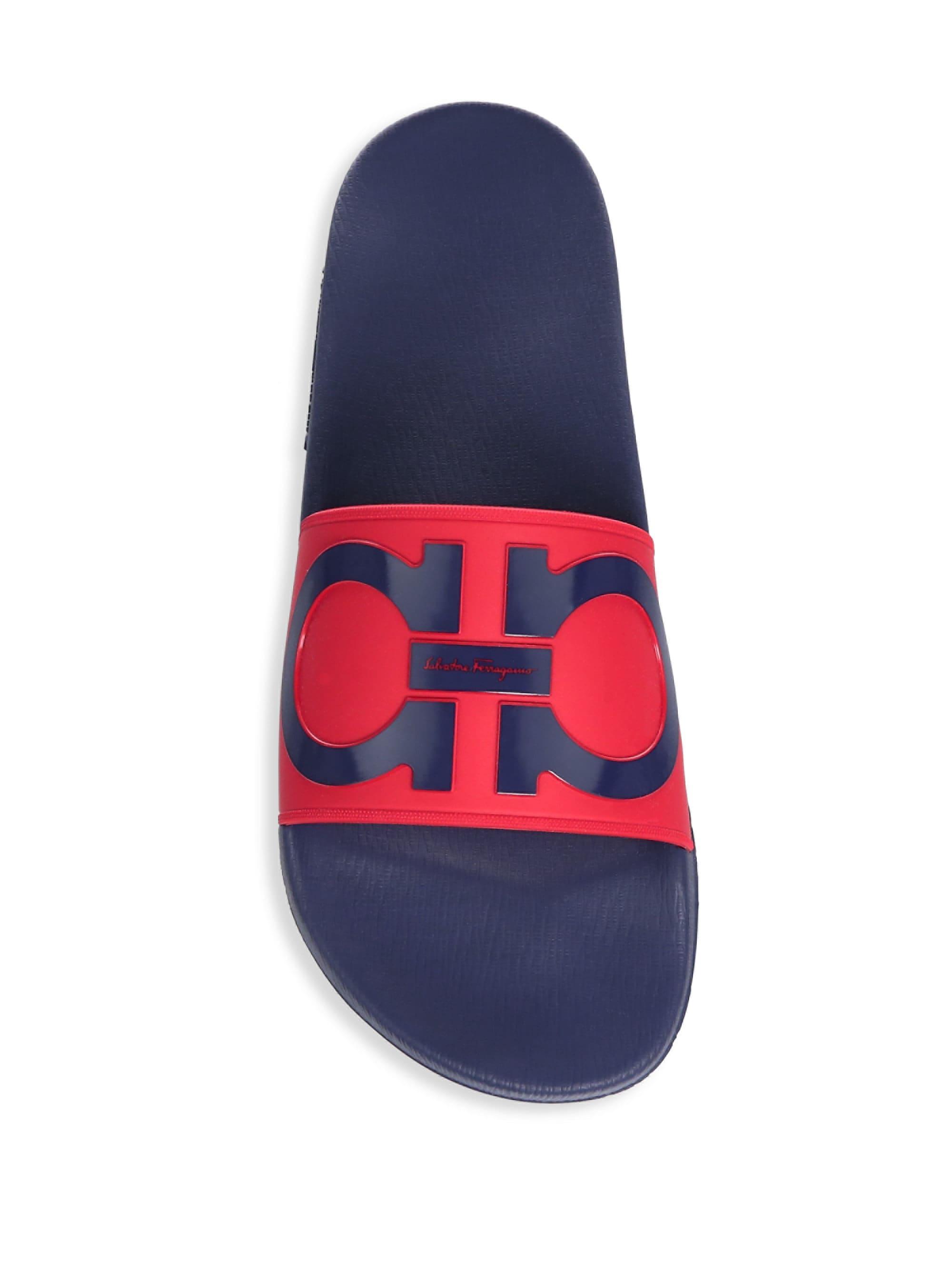 6167c85b4 Ferragamo Men s Gancini Pool Slide Sandals - Rosso - Size 7 M for Men - Lyst
