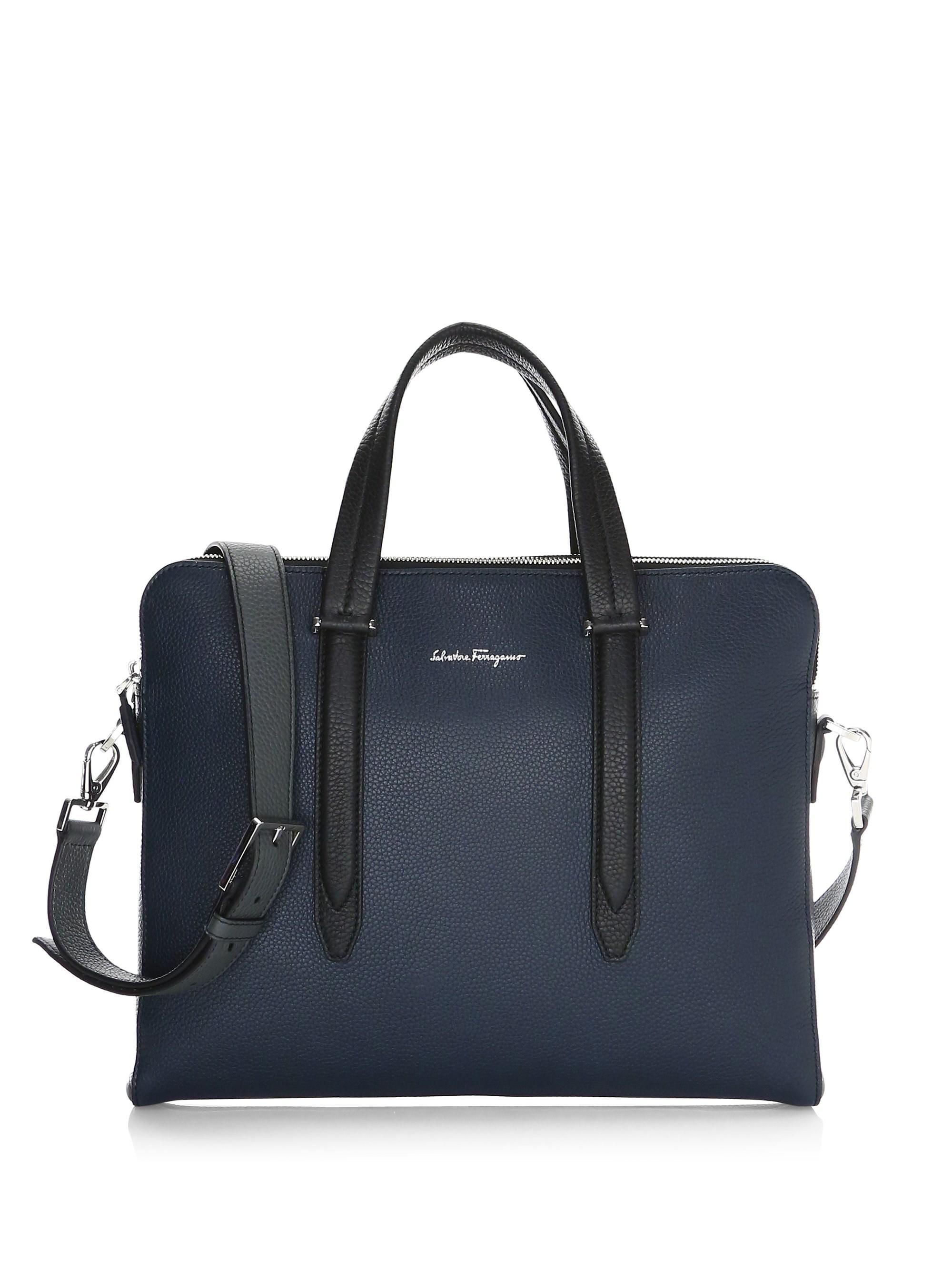 Ferragamo Pebbled-leather Laptop Bag in Black for Men - Lyst 2b478d857b884