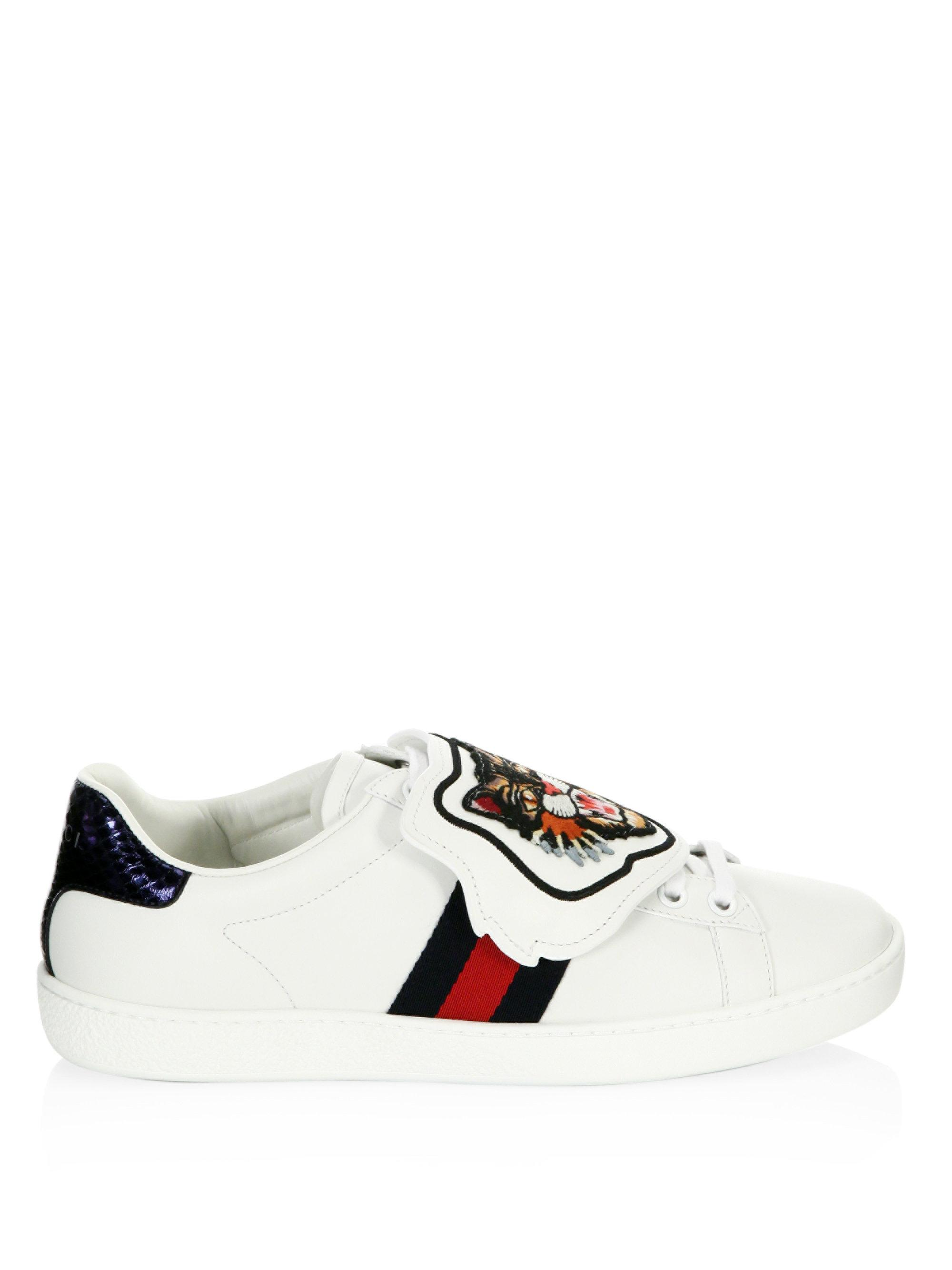5332ad58303 Gucci New Ace Lion Patch Sneakers in White - Lyst