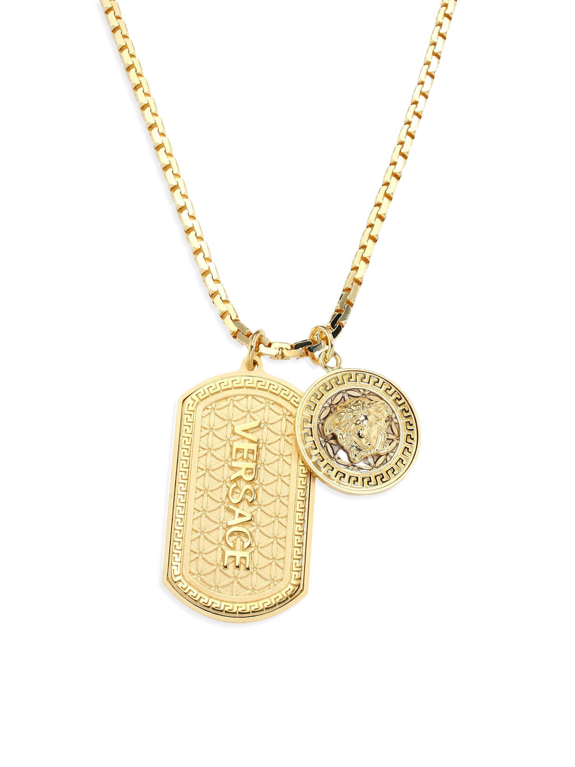 Versace Medusa Dog Tag Necklace - Black Rhod in Metallic for Men - Lyst 384f974ddab