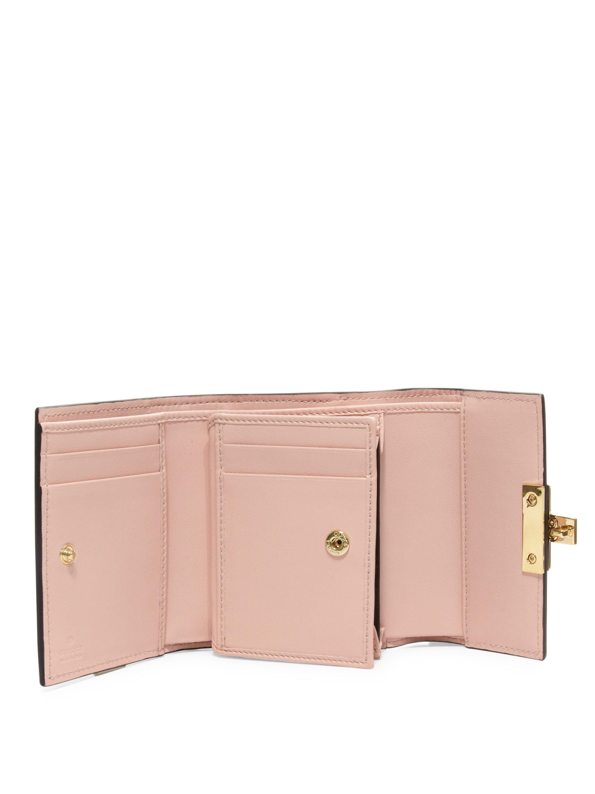 855851150f9 Lyst - Gucci Padlock Gg Supreme Leather French Flap Wallet in Pink