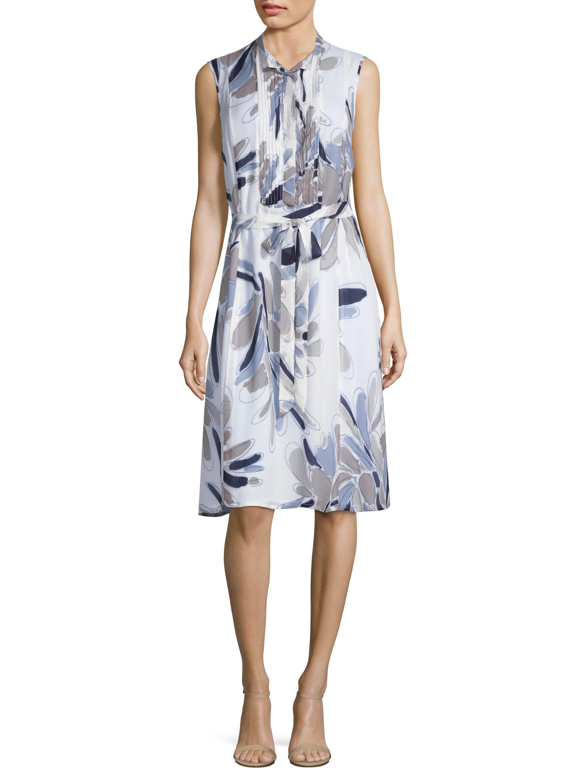 e6bb0c2e Peserico Floral Bib Front Dress in Blue - Lyst